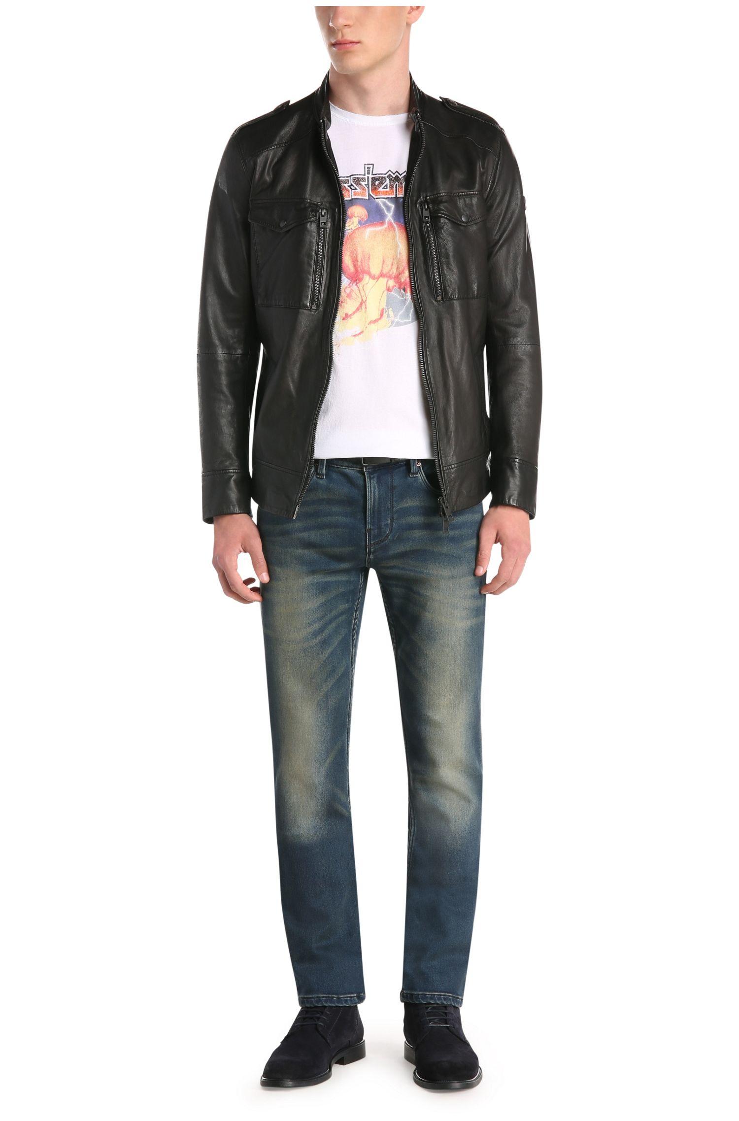 Slim-Fit Jeans aus elastischem Baumwoll-Mix in Used-Optik: ´Orange63`