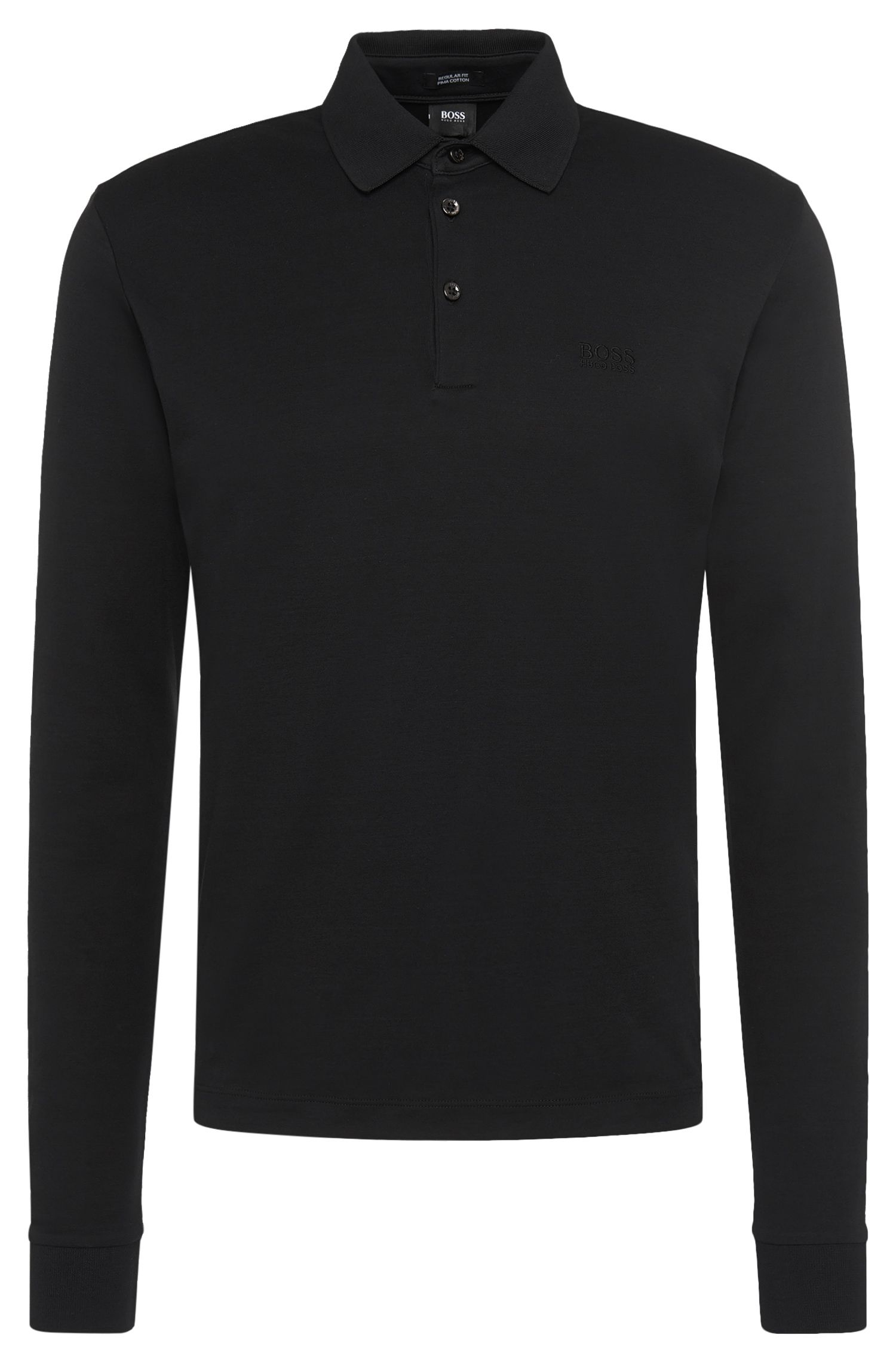 Regular-fit long-sleeved polo shirt in pima cotton: 'Phillian'