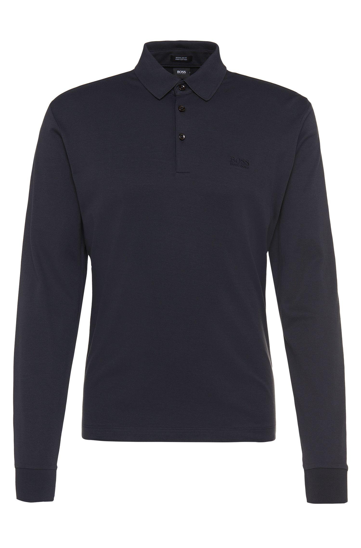 Regular-Fit Longsleeve-Poloshirt aus Pima-Baumwolle: 'Phillian'