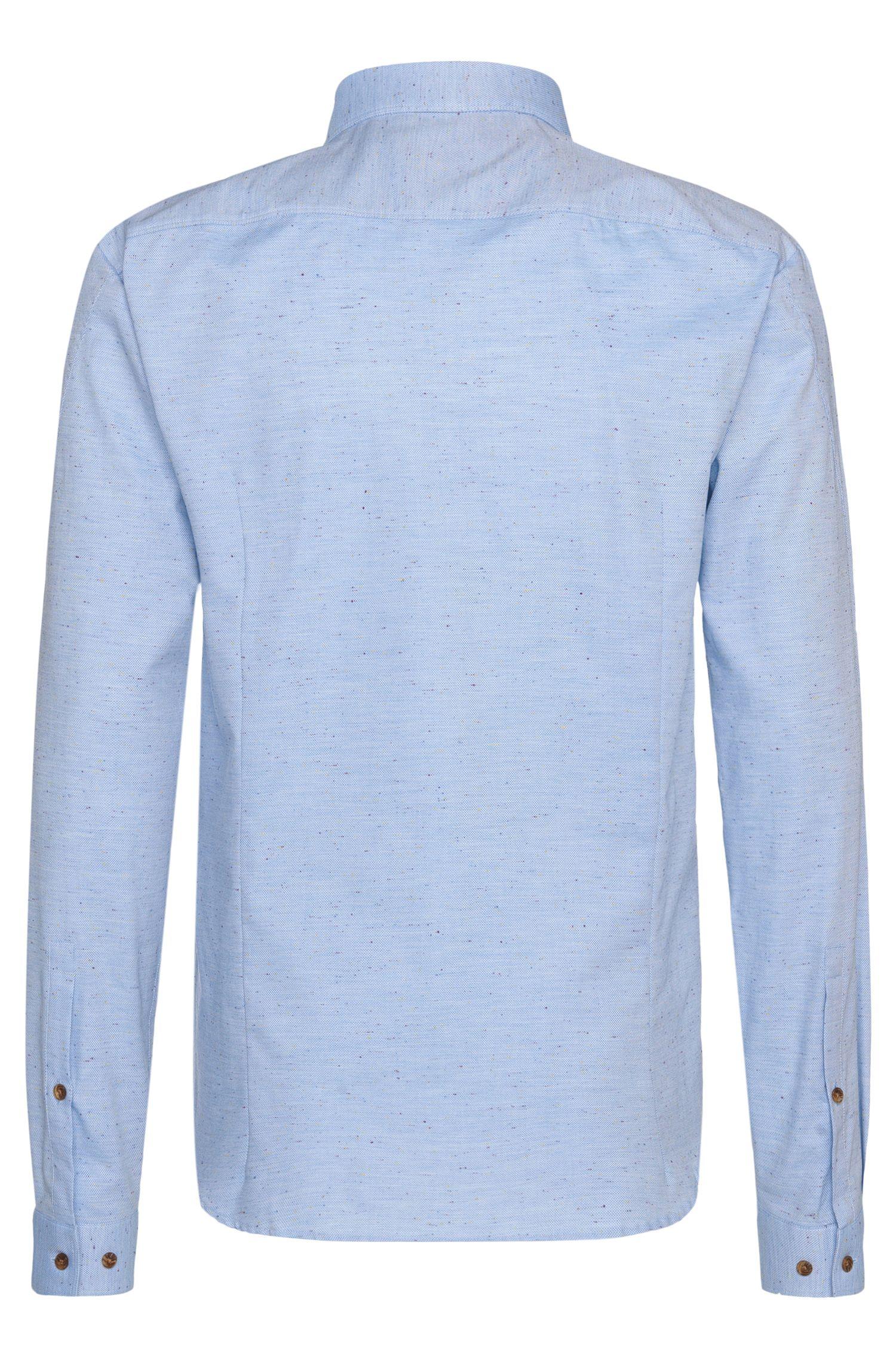Slim-Fit Hemd aus Baumwoll-Mix mit Effektgarn: 'Enosh'