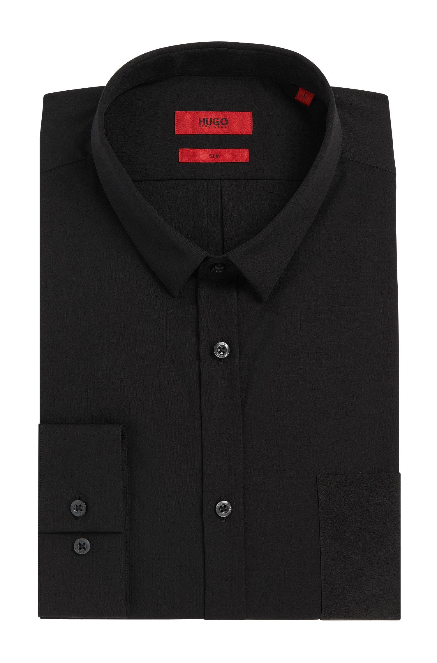 Effen slim-fit overhemd van katoen: 'Ero3'