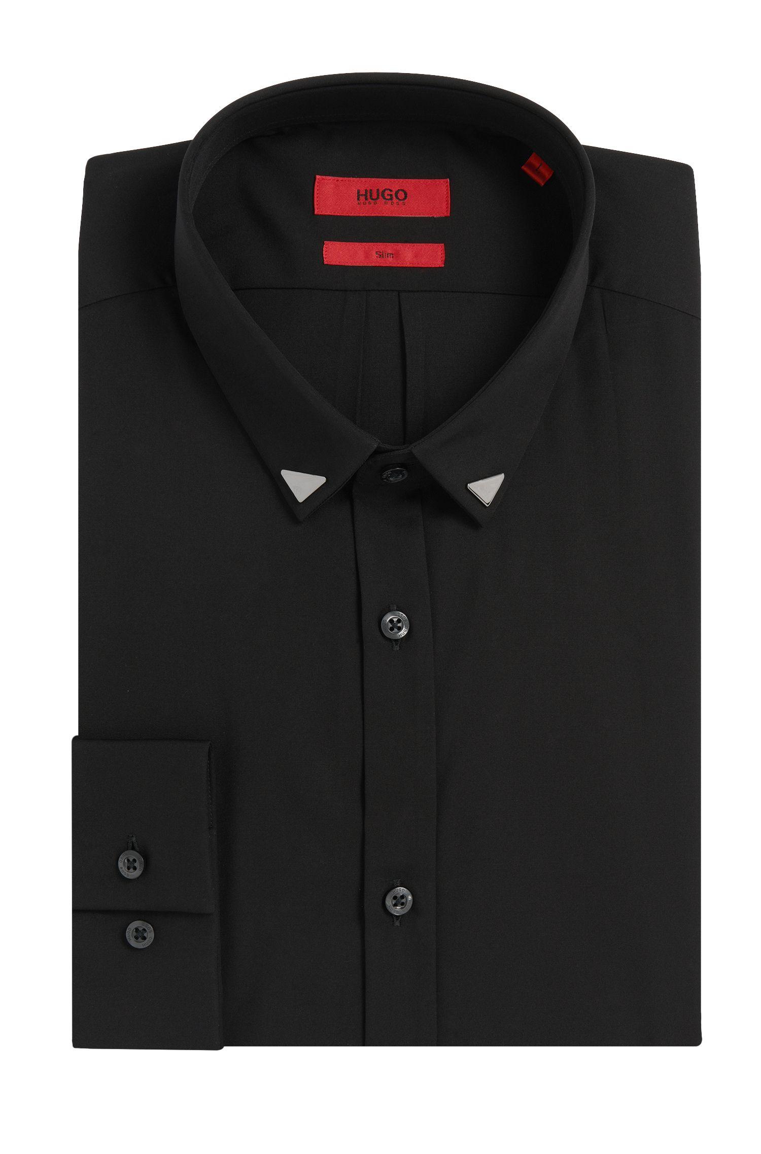Slim-fit overhemd van zuivere katoen met metaaldetails: 'Ero3'