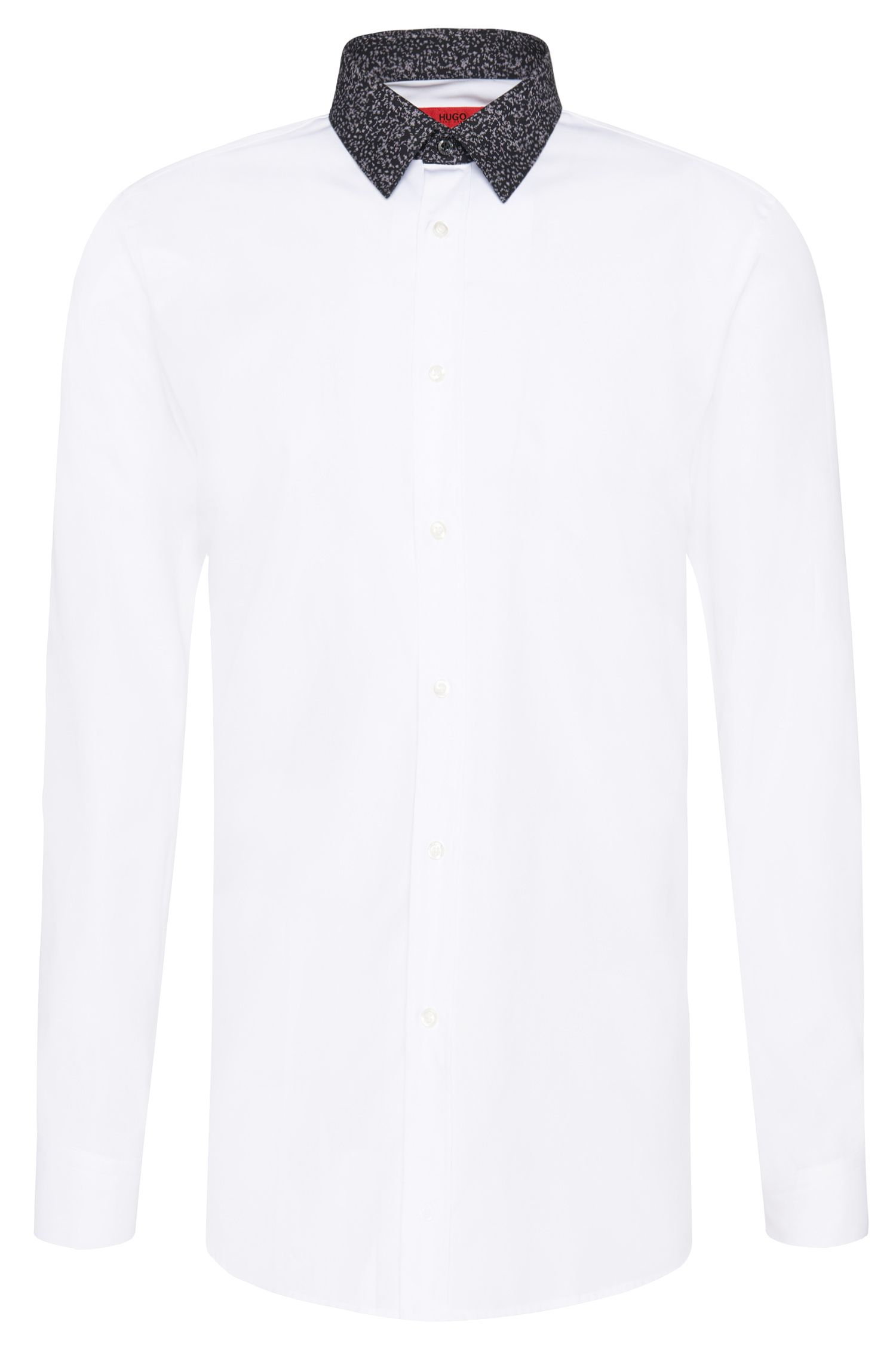 Slim-fit shirt in cotton with patterned collar: 'Elisha1'