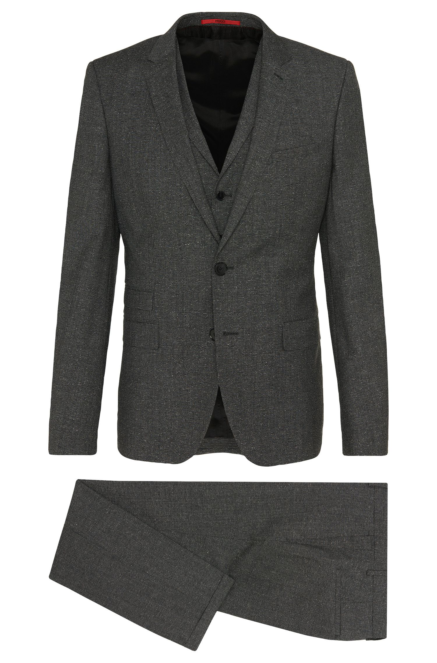 Finely checked slim-fit suit in new-wool blend with silk: 'Alid/Wyll/Hilor'