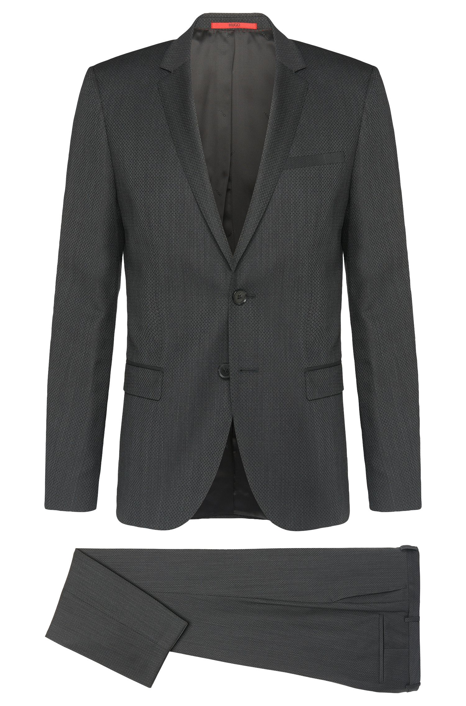 Slim-fit suit in new wool with all-over pattern: 'Arti/Heilon'