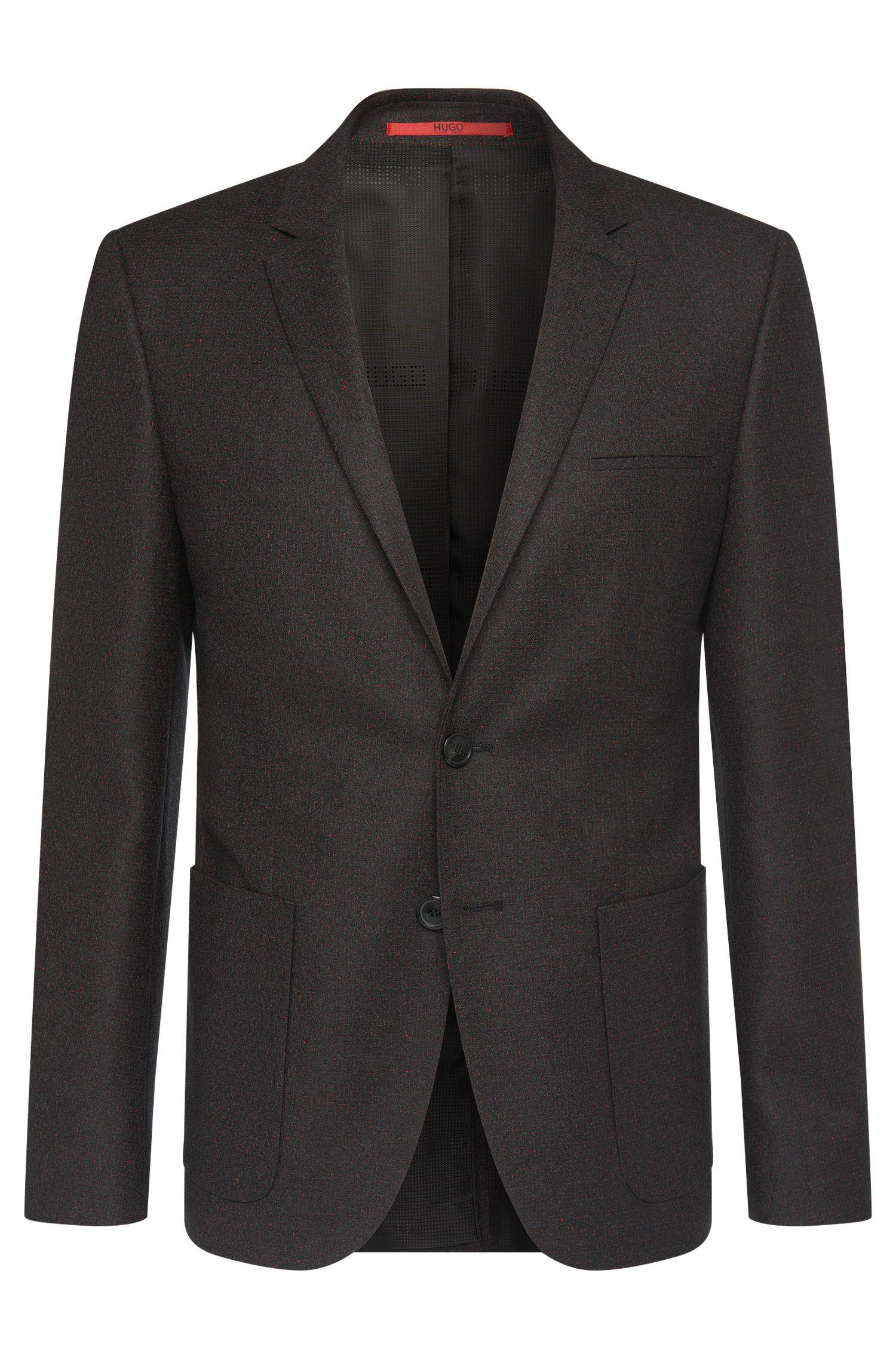 Veste de costume Slim Fit en laine vierge extensible, avec détails contrastants: «Antanos»