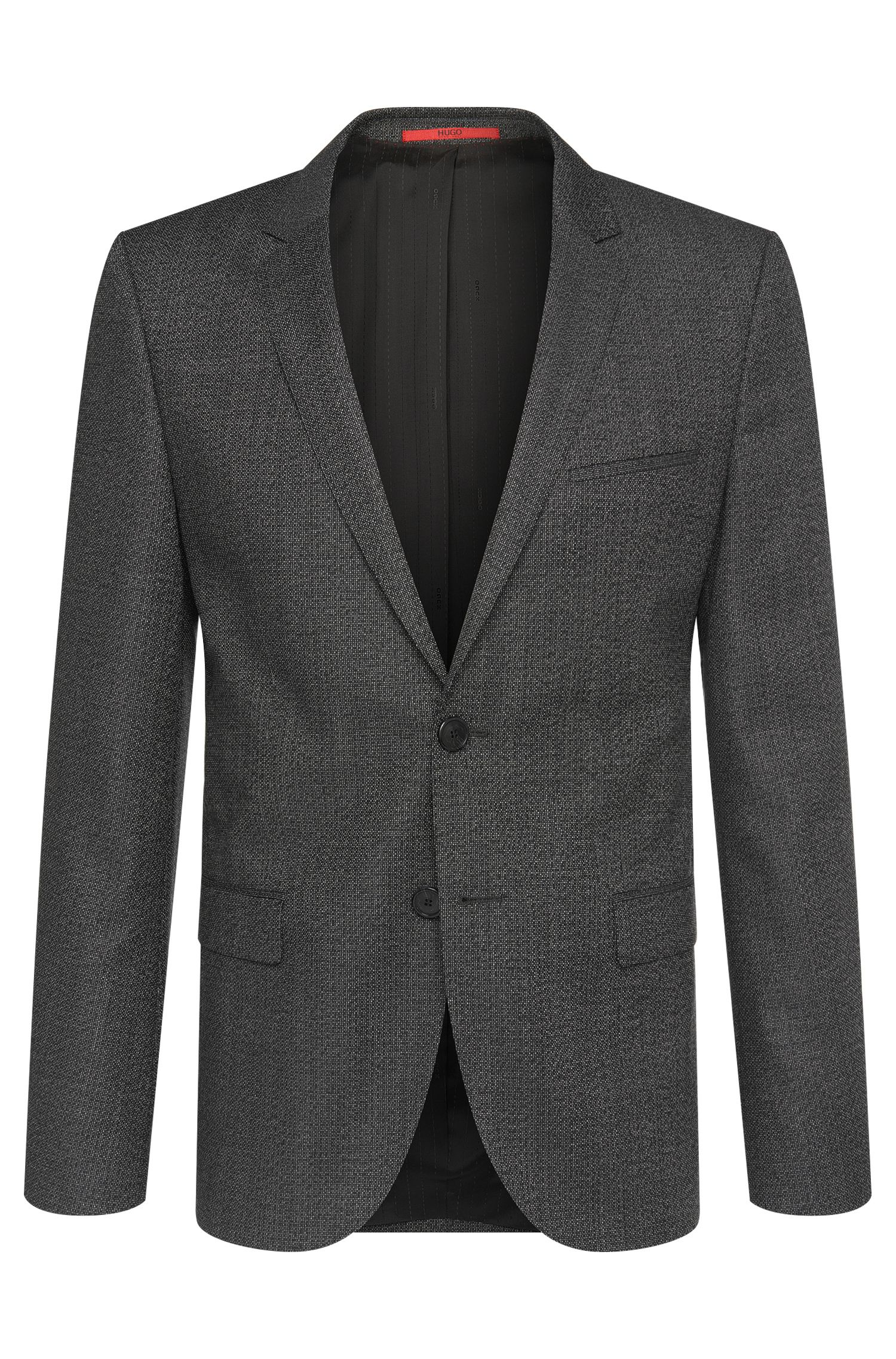 Patterned slim-fit jacket in new wool: 'Arti'