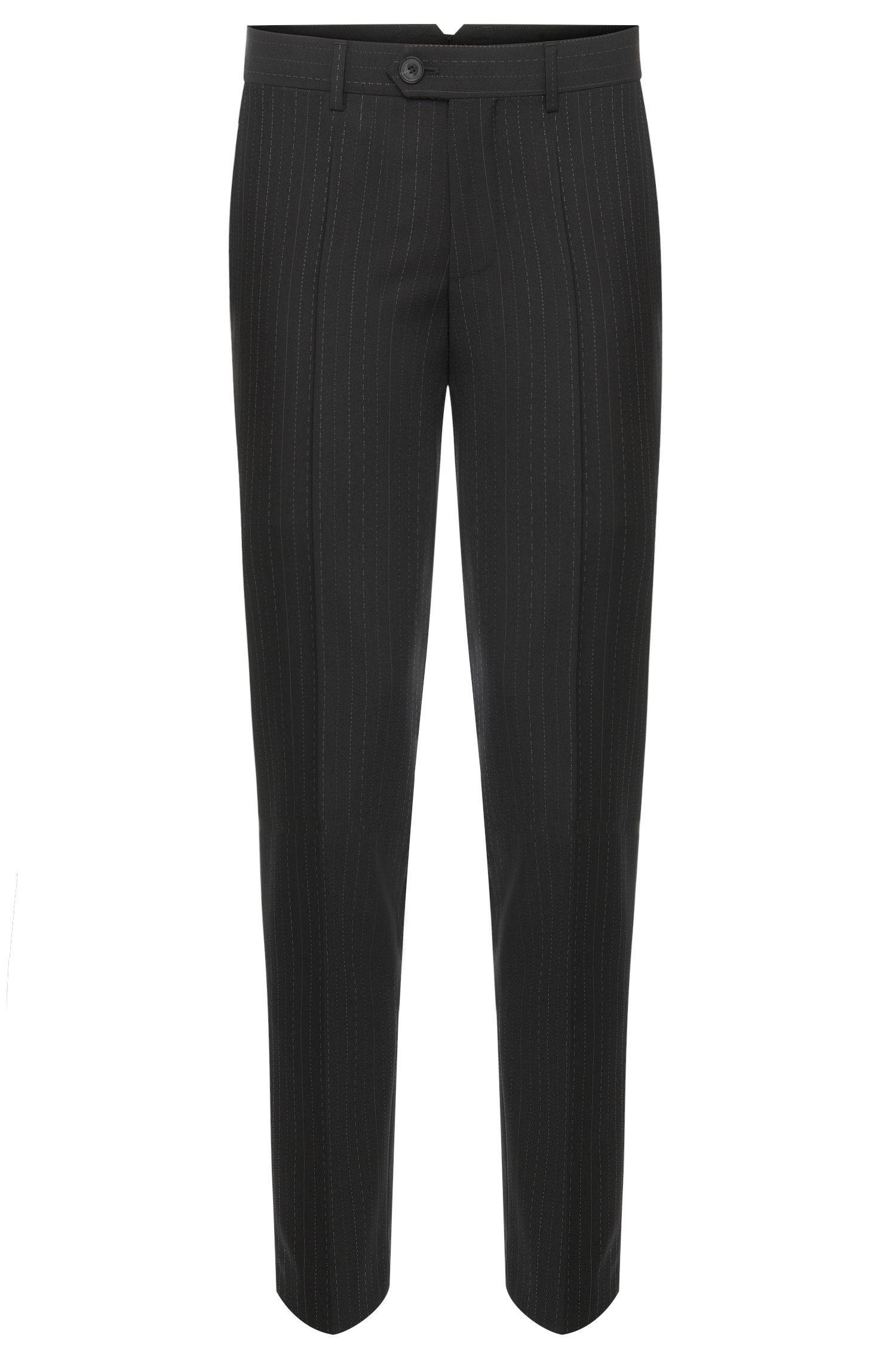 Tapered-fit pinstriped trousers in new wool: 'Hening'
