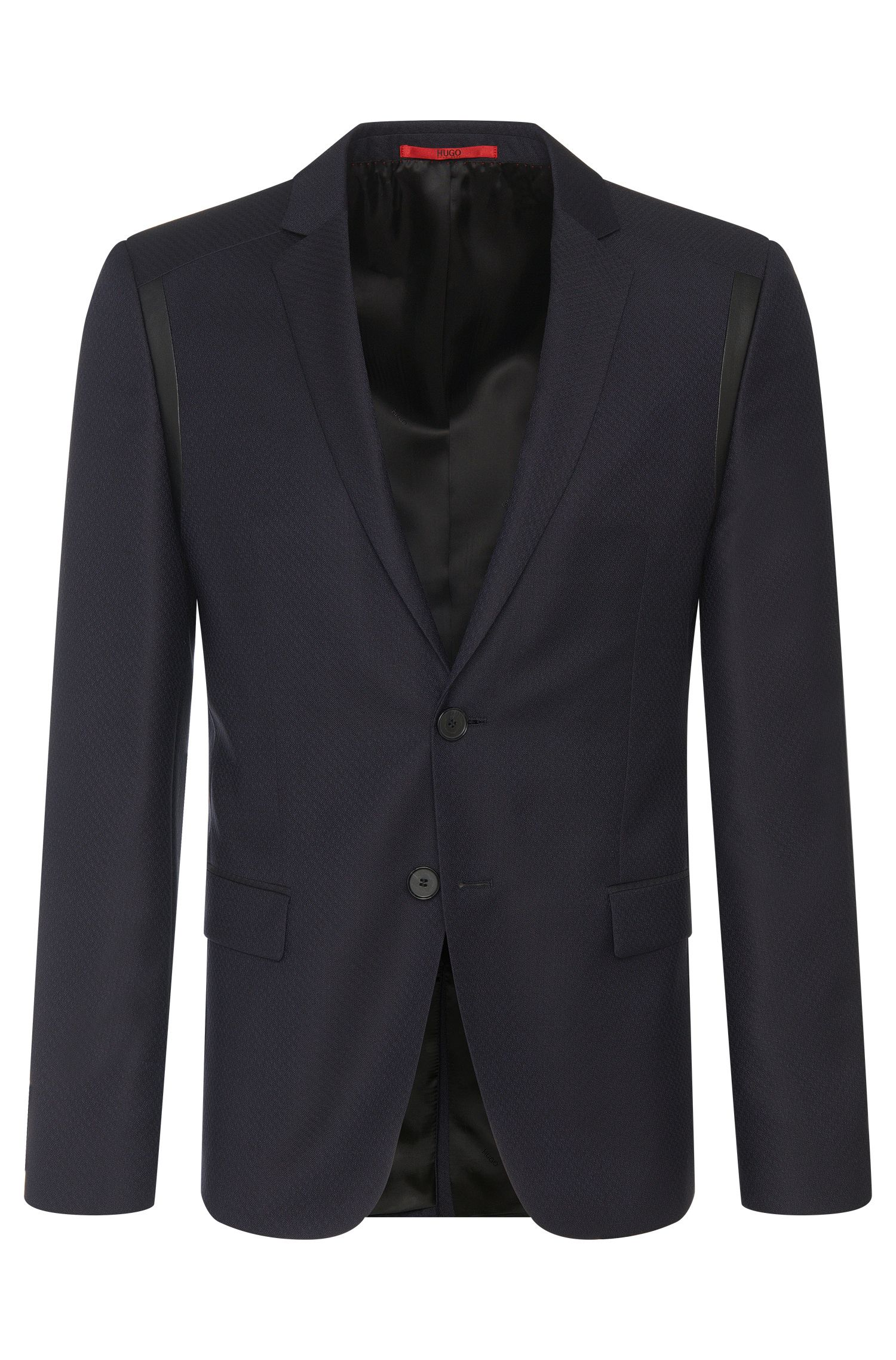 Veste de costume Slim Fit en laine vierge finement structurée : « Alderon »