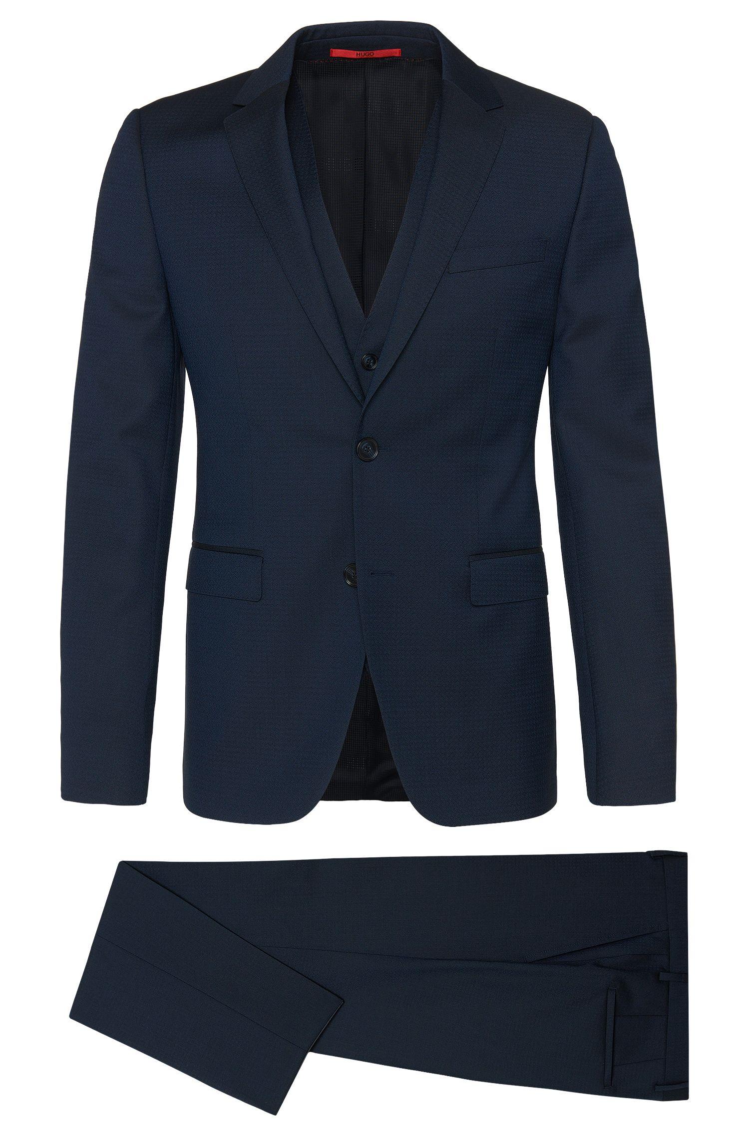 Slim-Fit Anzug mit Weste aus Schurwolle mit dezentem Rauten-Muster: 'Adwart/Wilard/Hets'