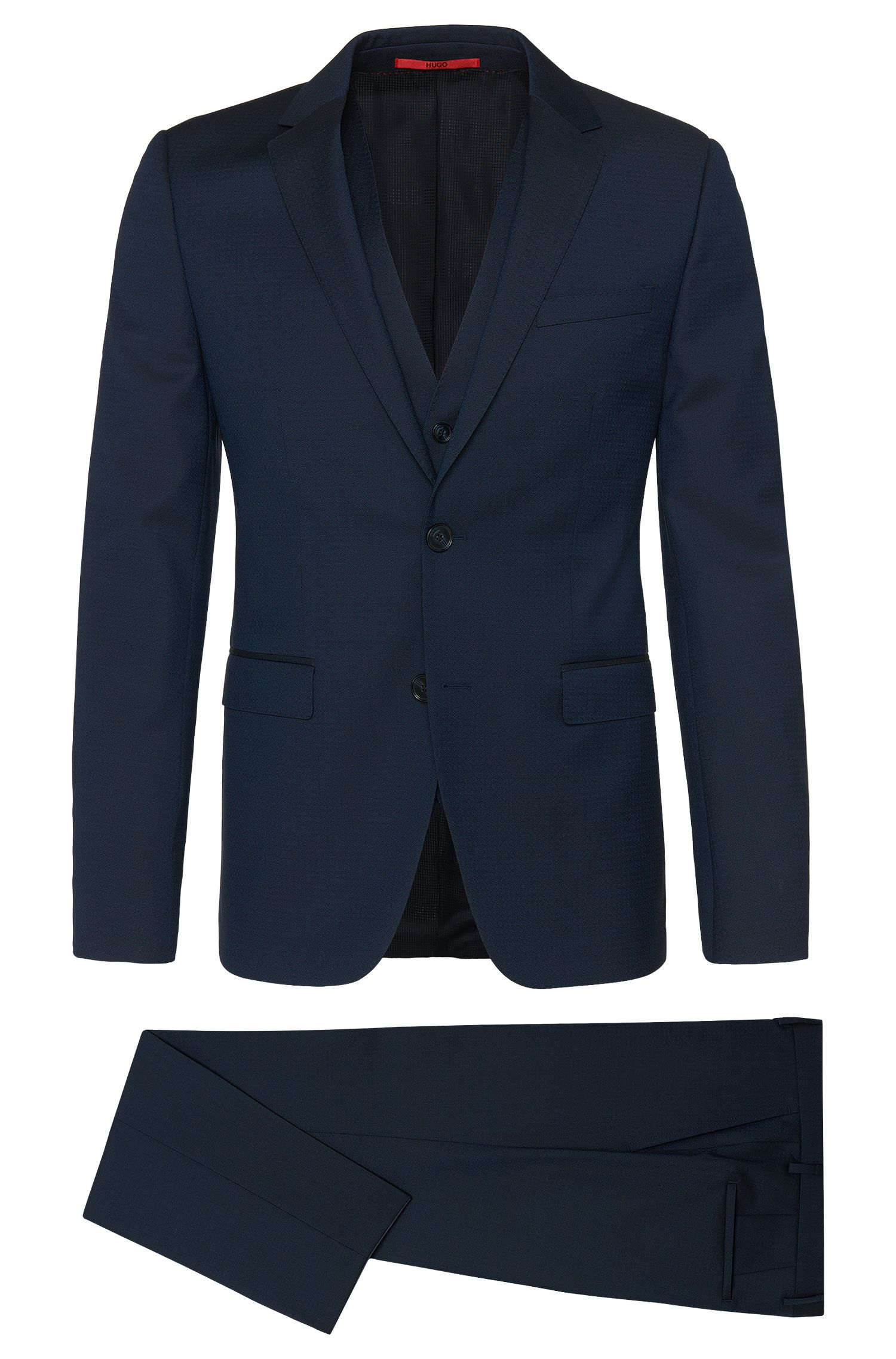 Slim-fit 3-piece suit in new wool with subtle argyle pattern: 'Adwart/Wilard/Hets'