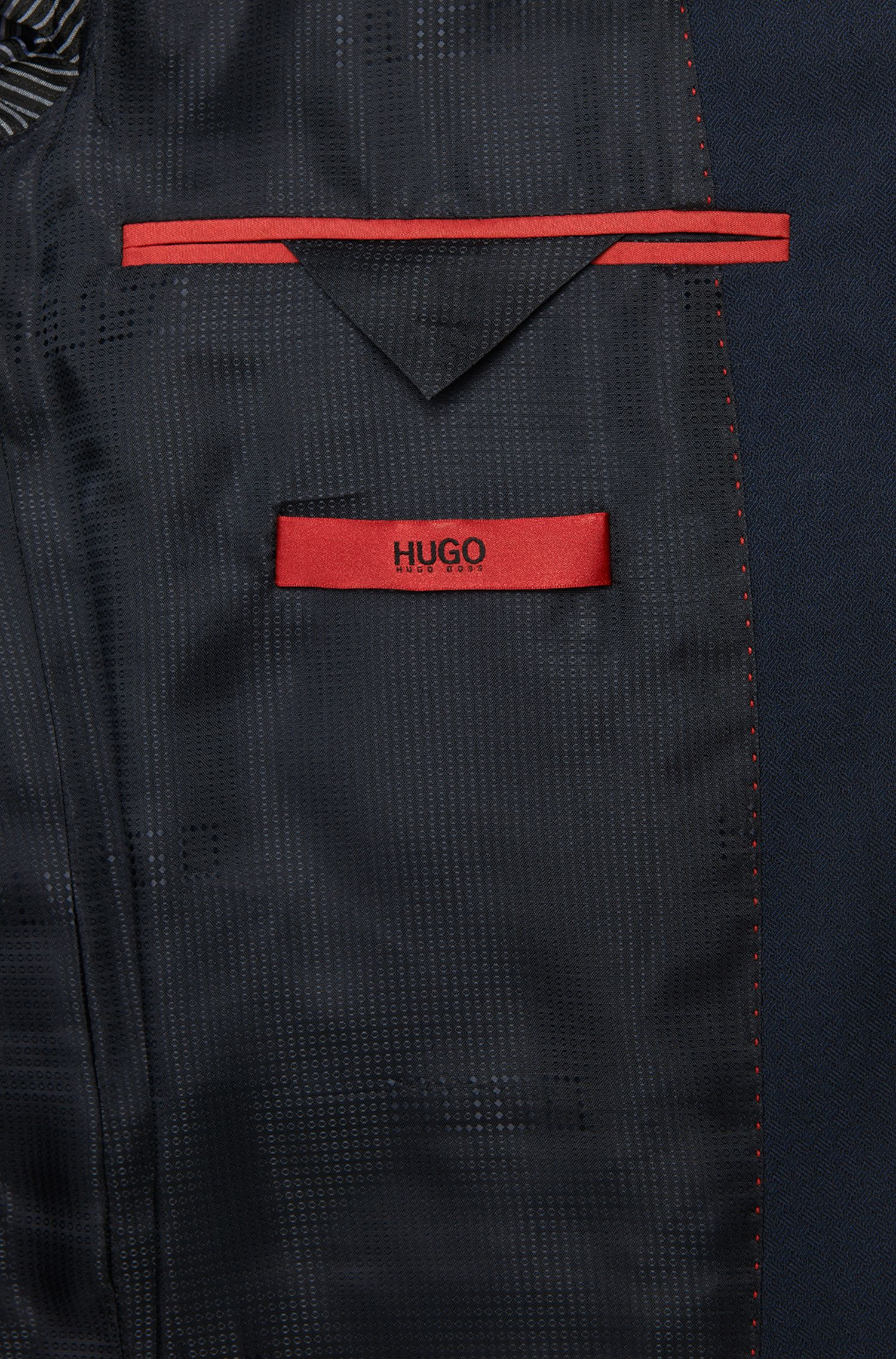 Slim-fit kostuum met gilet, van scheerwol met subtiel ruitdessin: 'Adwart/Wilard/Hets'