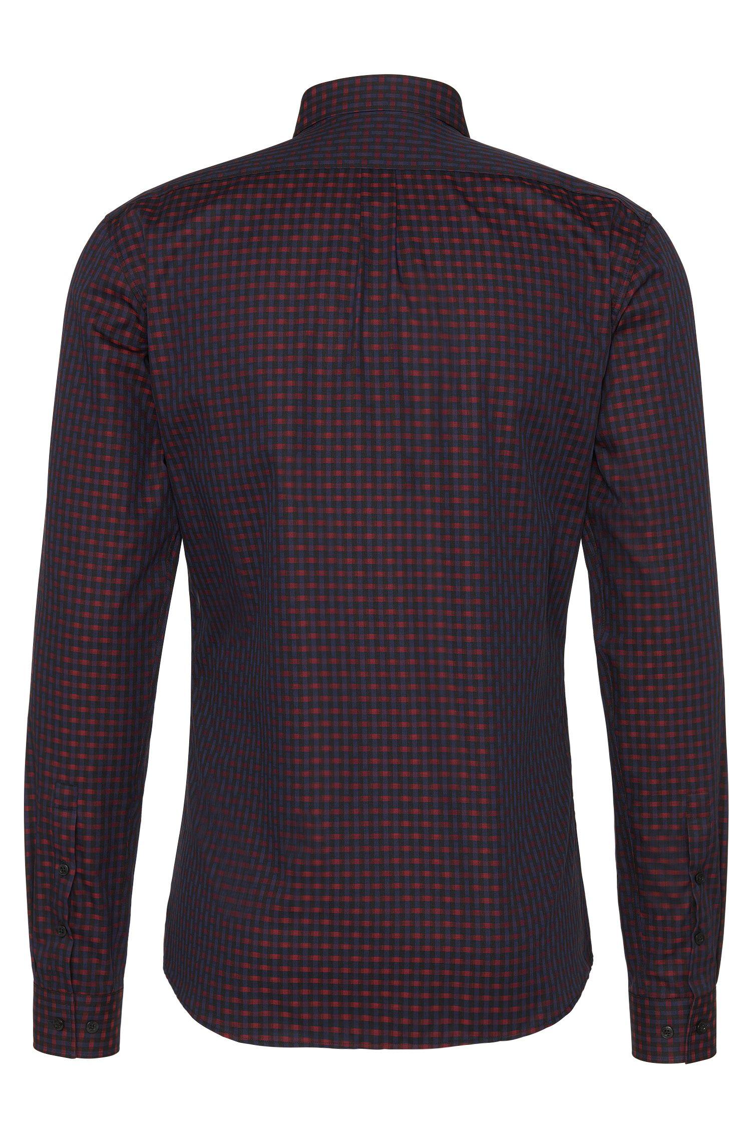 Slim-fit overhemd van katoen met all-over dessin: 'Enico'