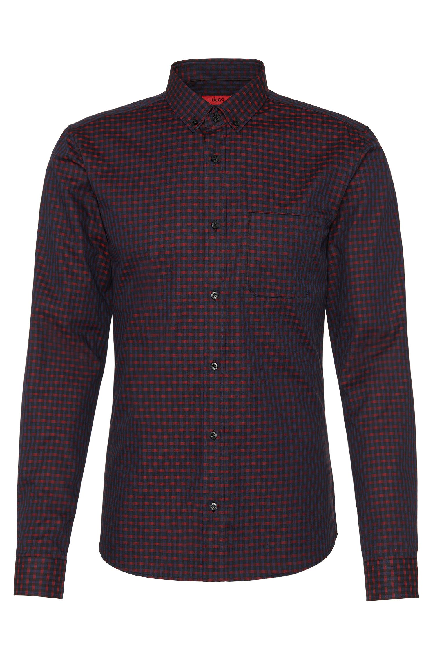 Camicia slim fit in cotone con motivo all-over: 'Enico'