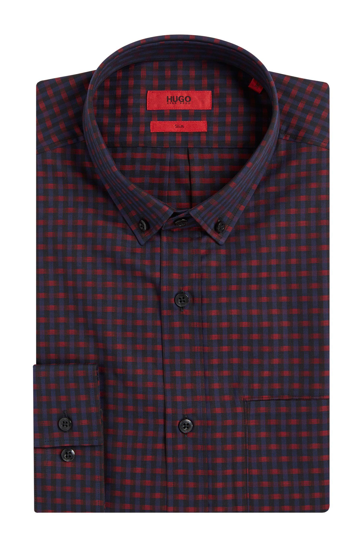 Slim-Fit Hemd aus Baumwolle mit Allover-Muster: 'Enico'