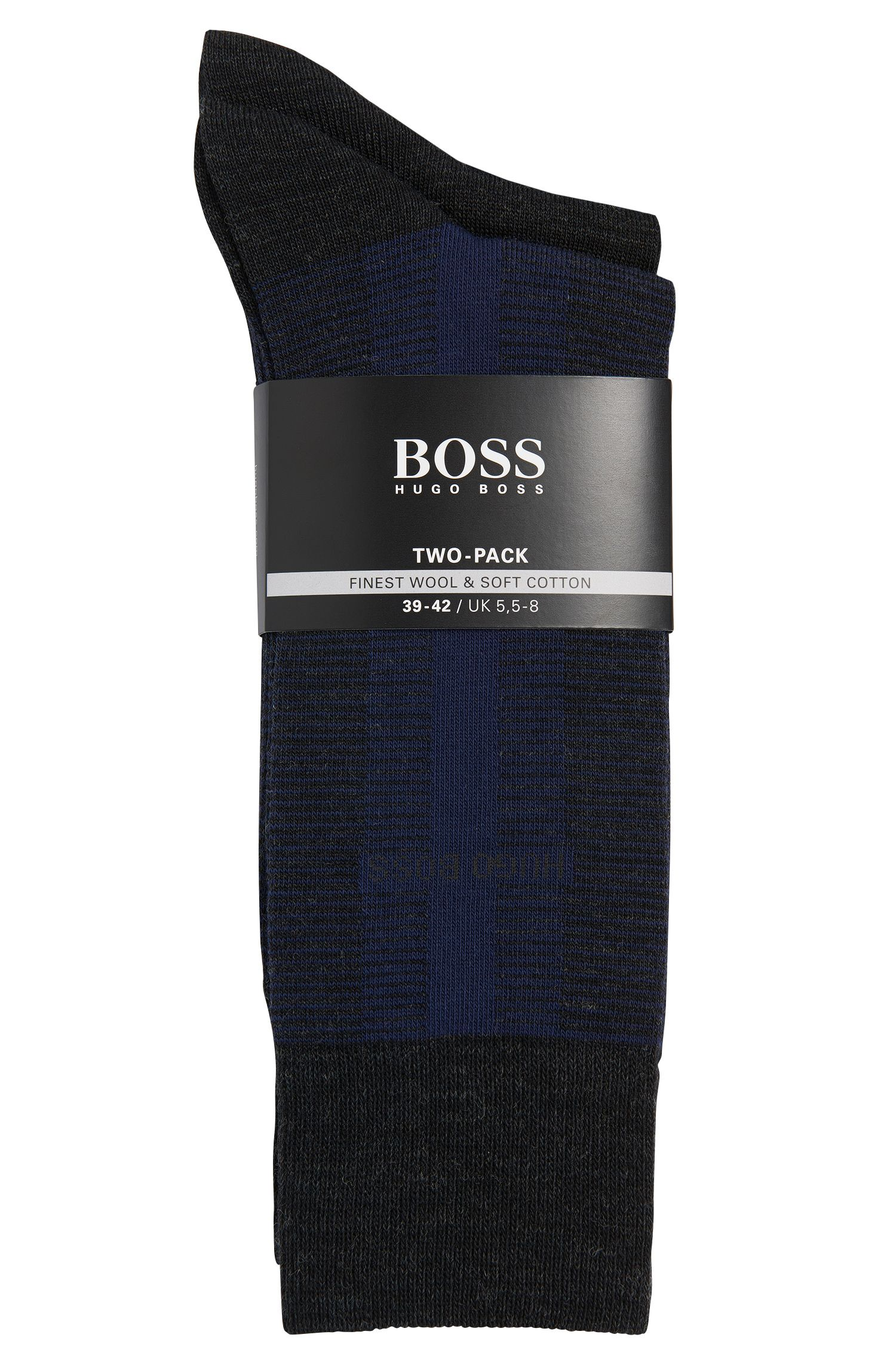 Lot de deux paires de chaussettes en laine mélangée à du coton: «TwopackRSDesign»