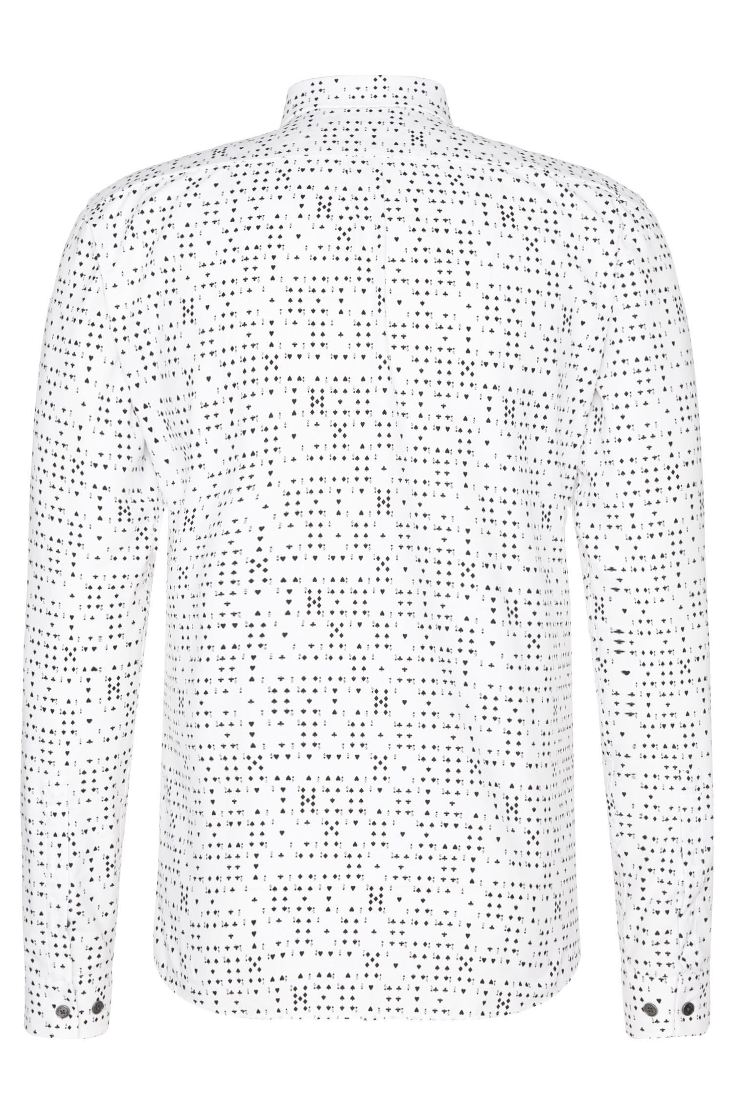 Slim-fit overhemd van katoen met kaartkleurendessin: 'Ero3'