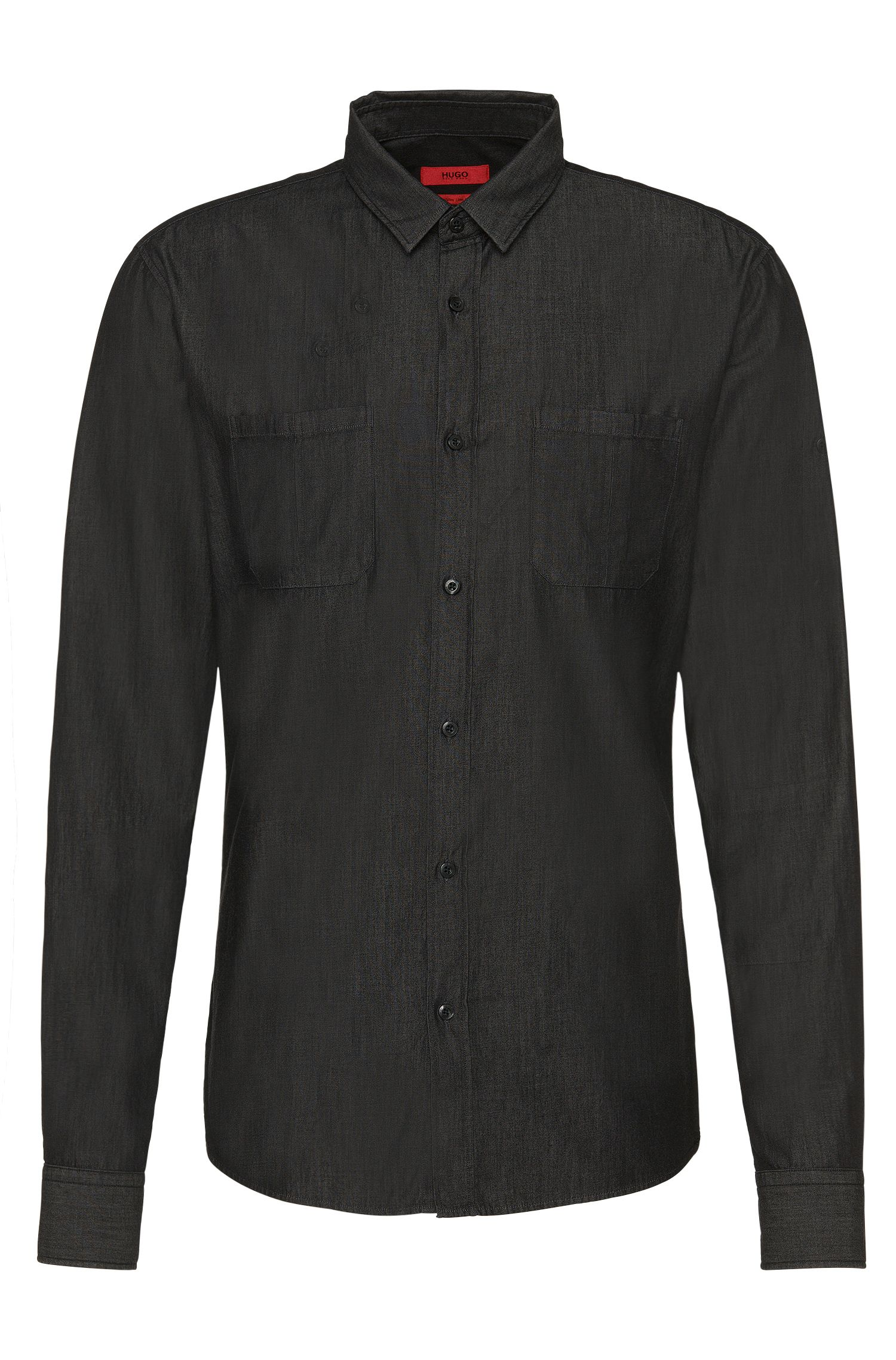 Chemise Slim Fit en coton au look denim : « Ele »