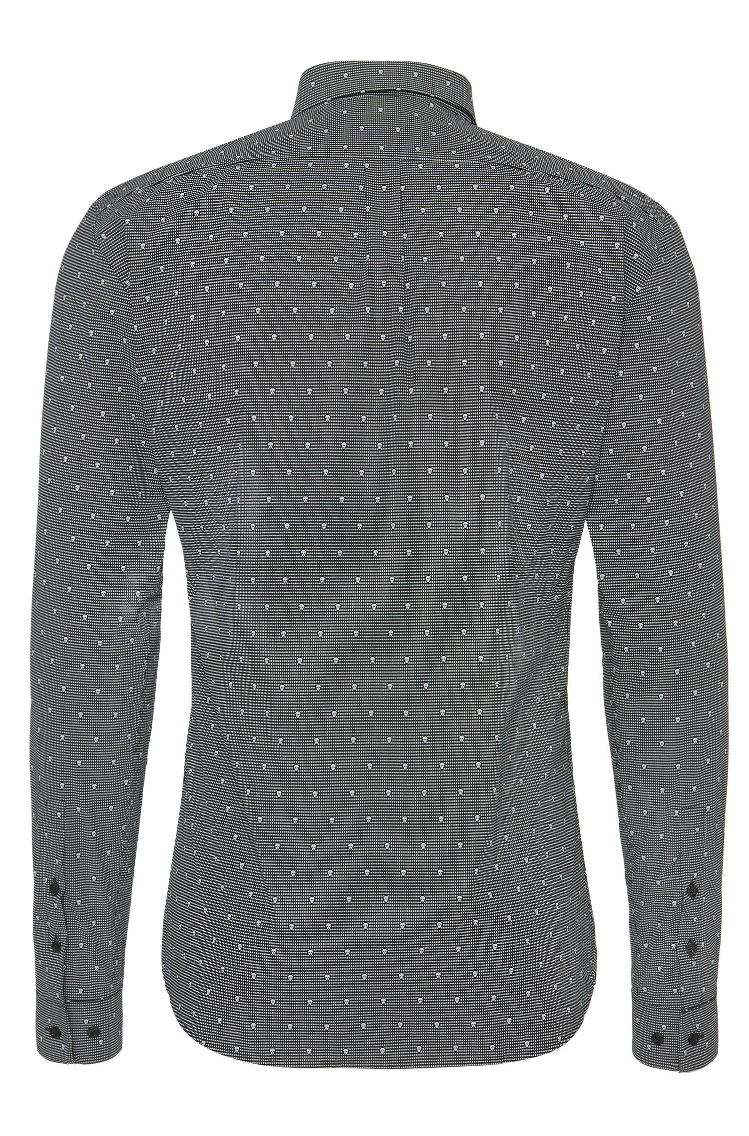 Slim-fit overhemd van katoen met doodshoofden: 'Ero3'