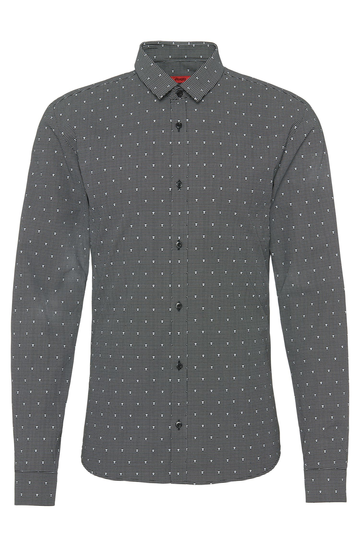 Slim-fit shirt in cotton with skulls: 'Ero3'