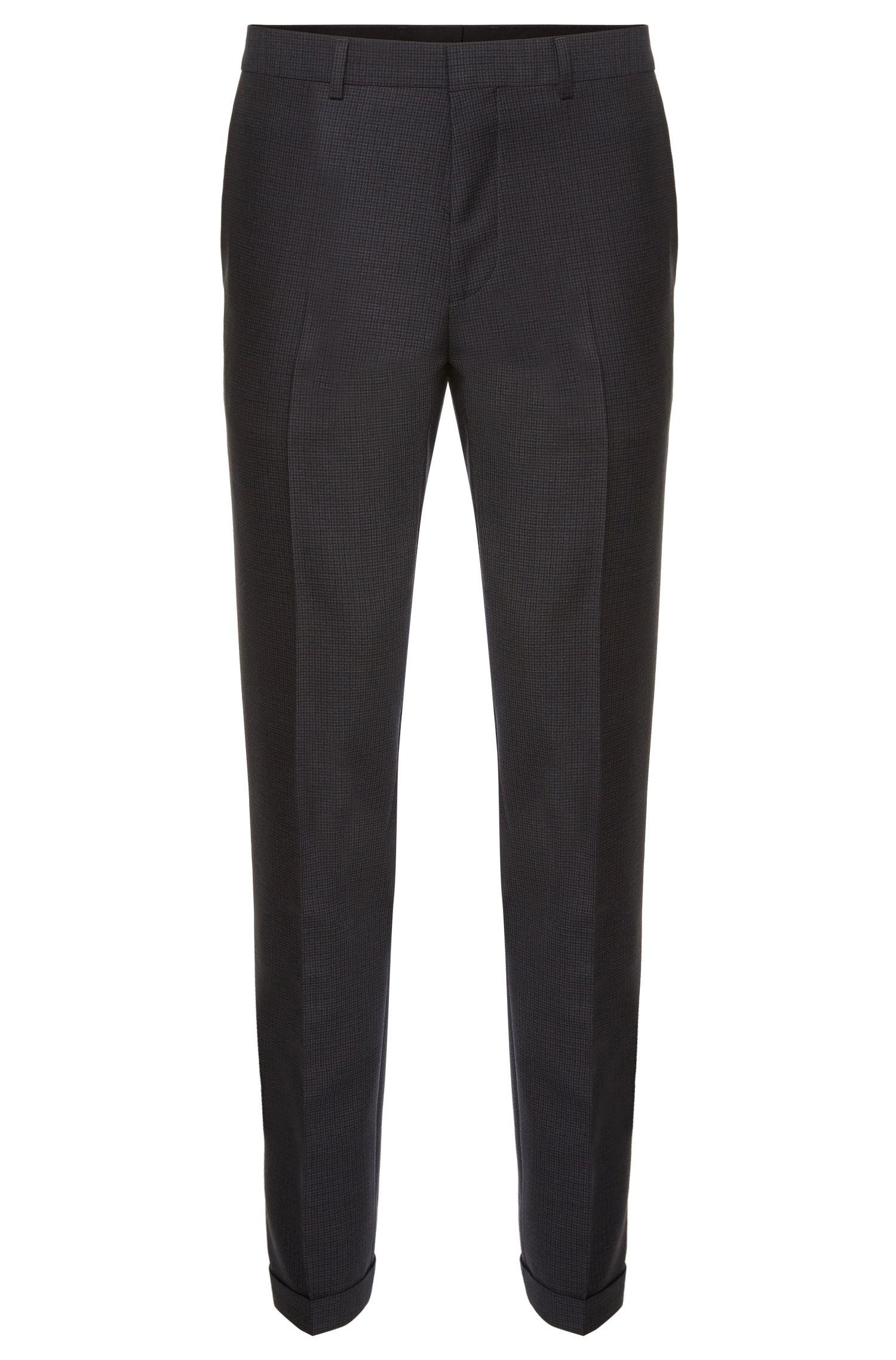 Pantalon Slim Fit en laine vierge à carreaux: «Harwen»