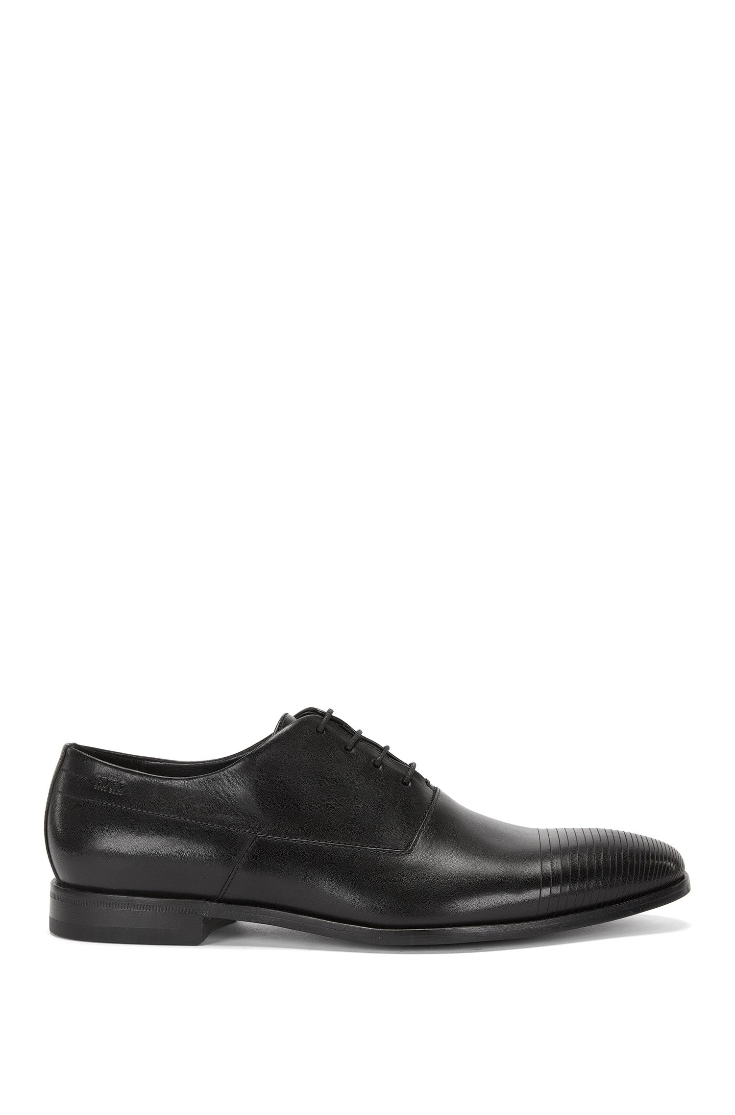 Leather lace-up shoes with lasered detail: 'Square_Oxfr_ltls'