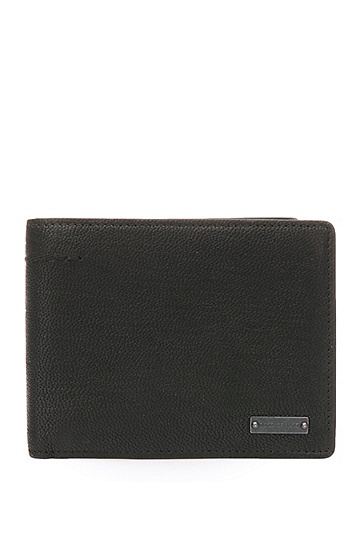 Portemonnaie aus mattem Leder: ´Journey_Trifold`, Schwarz