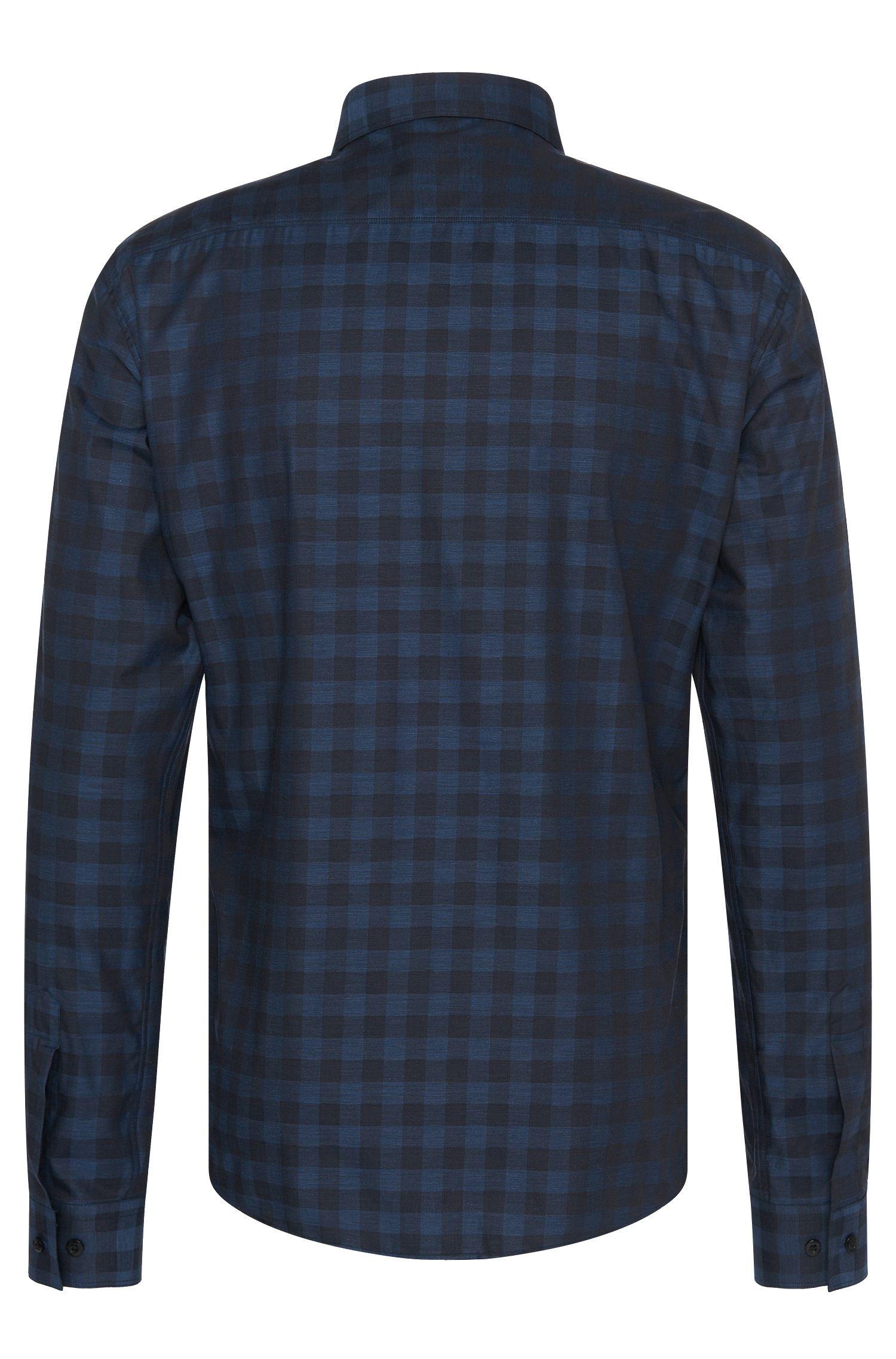 Slim-fit overhemd van katoen met detail in leerlook: 'Ewaldo'