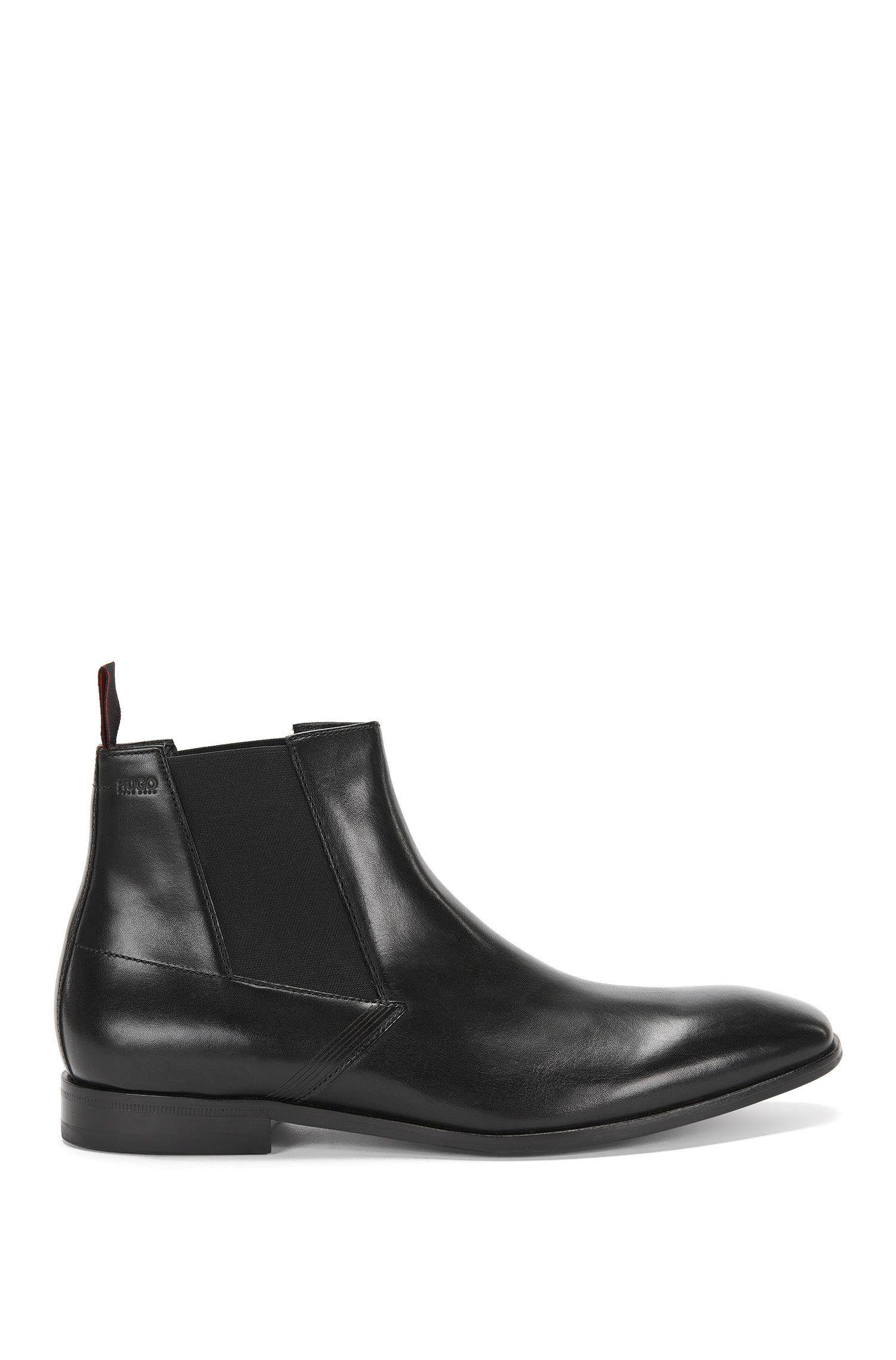Boots Chelsea en cuir avec détail façonné au laser: «Square_Cheb_ltls»