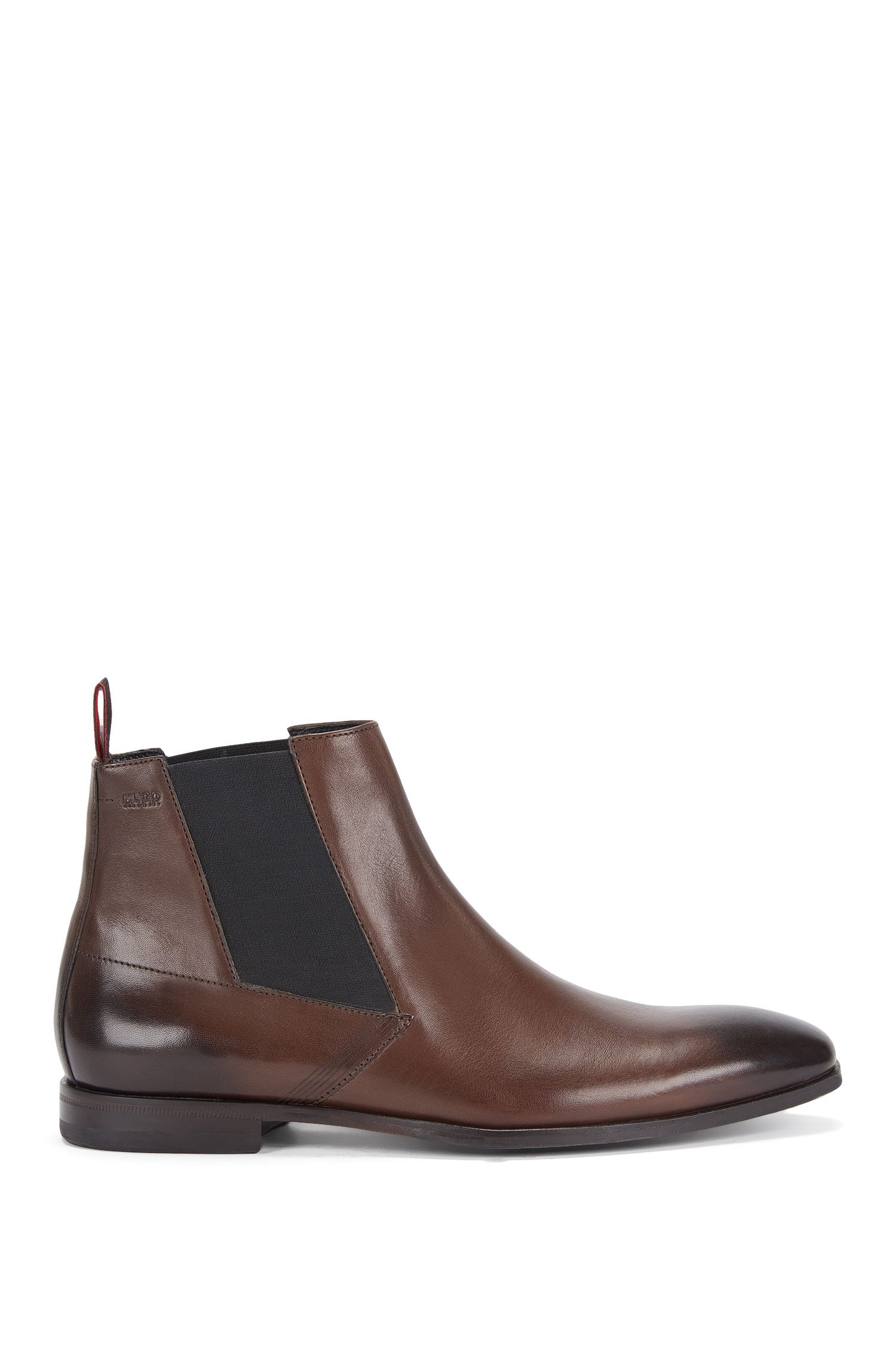 Chelsea boots in leather with lasered detail: 'Square_Cheb_ltls'