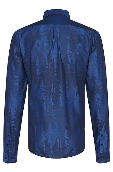 Slim-Fit Hemd aus Baumwolle mit Hahentritt-Muster: 'Ero3', Blau