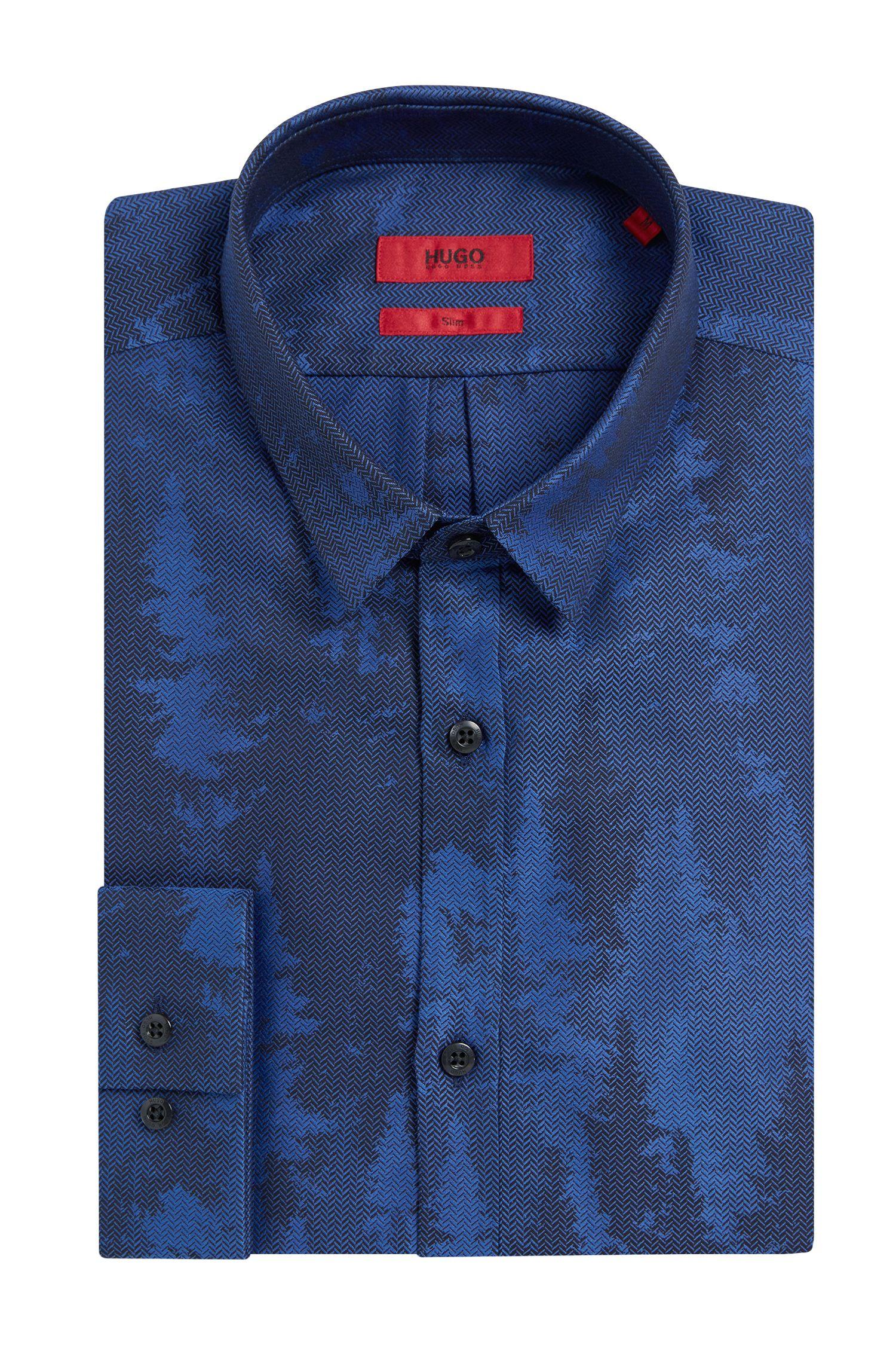 Chemise Slim Fit en coton à motif pied-de-poule: «Ero3»