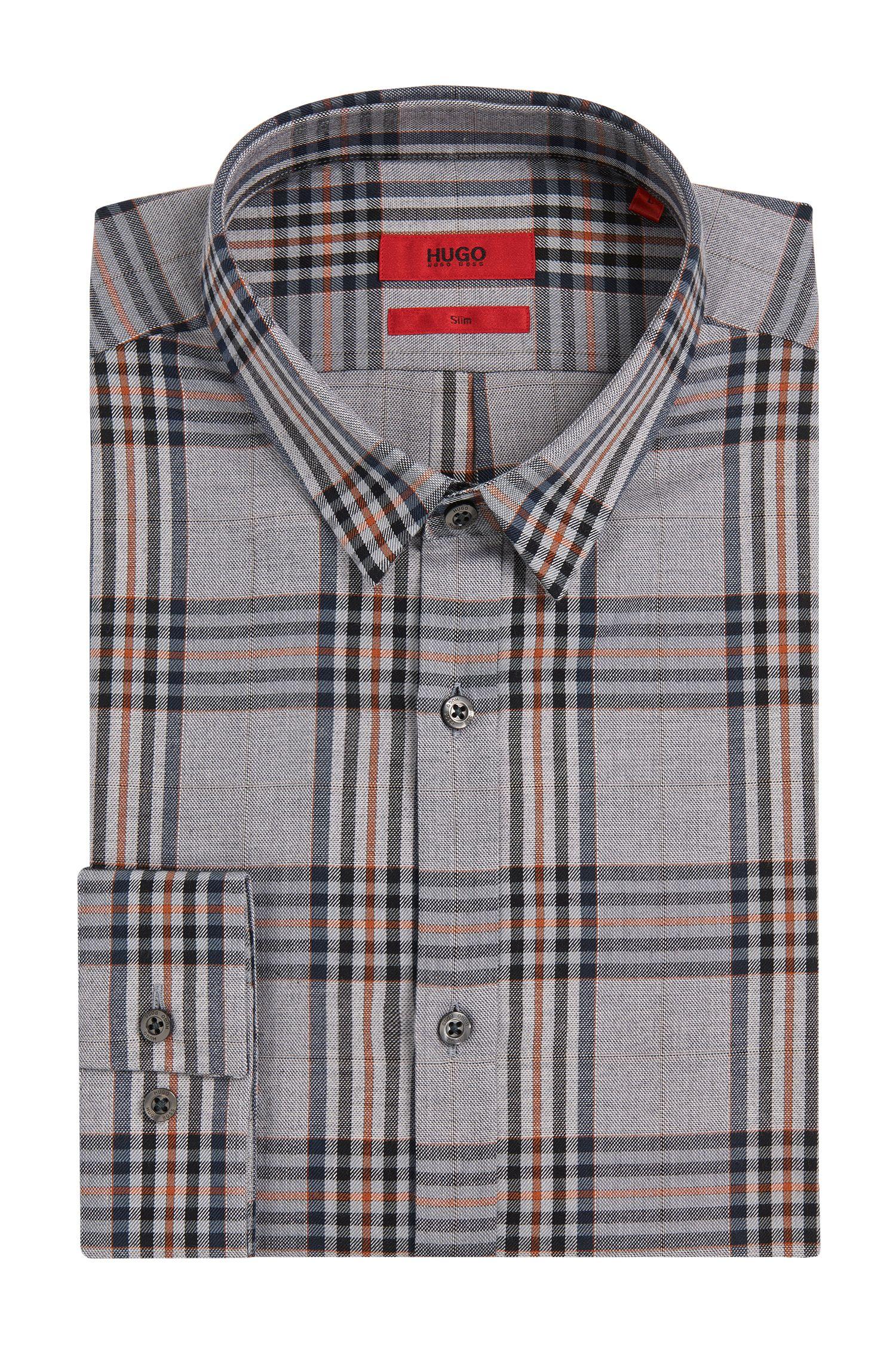 Geruit slim-fit overhemd van katoen: 'Ero3'