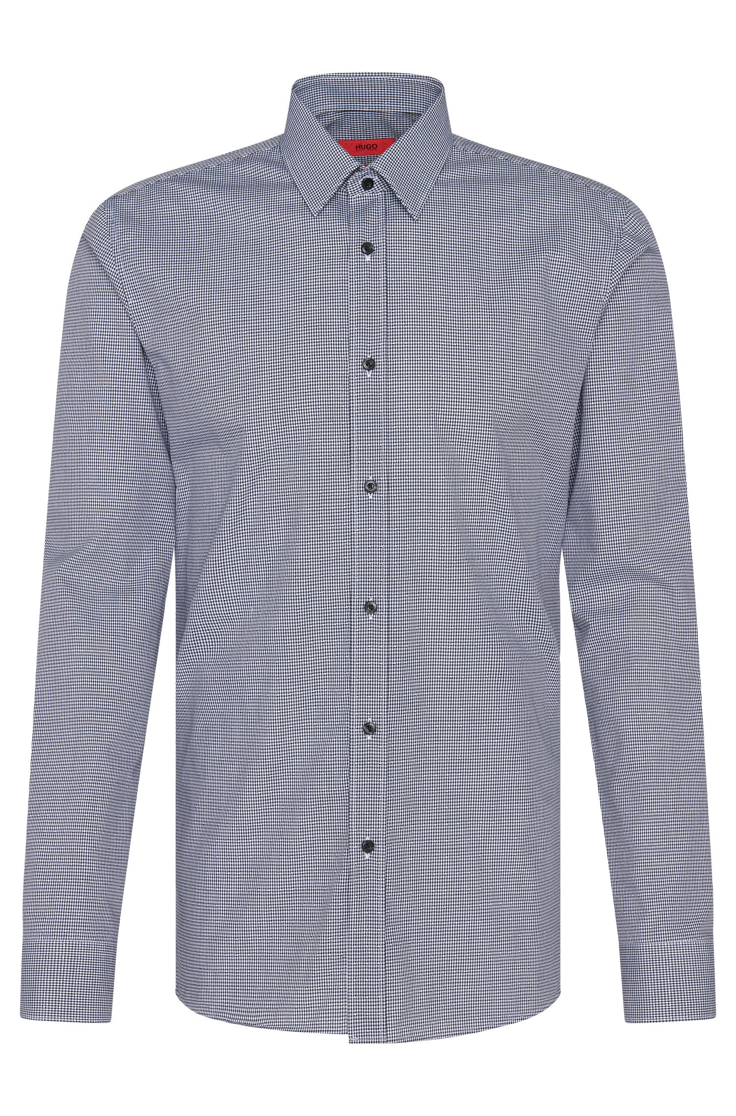 Checked slim-fit shirt in cotton: 'Elisha'