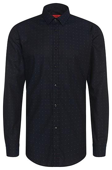 Fein gemustertes Slim-Fit Hemd aus Baumwolle: 'Elisha', Dunkelblau