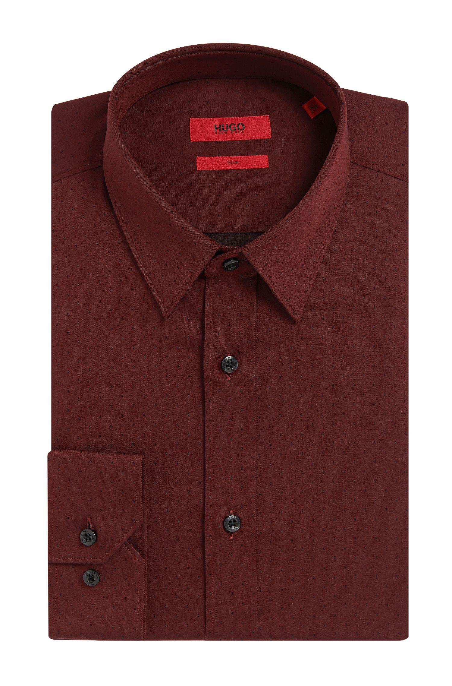 Dezent gemustertes Slim-Fit Hemd aus elastischer Baumwolle: 'Elisha'