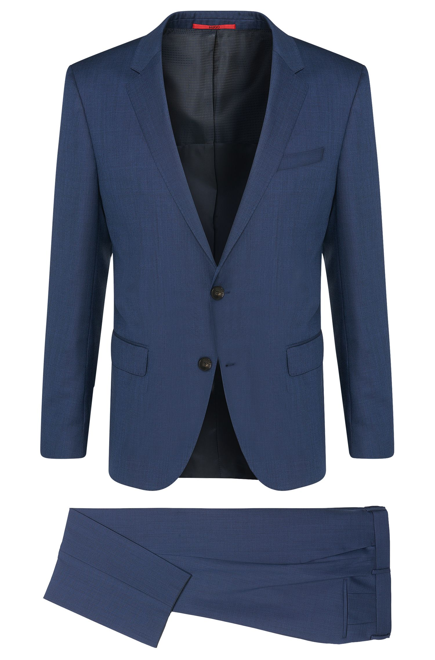 Plain-coloured slim fit suit in pure new wool: 'C-Huge1/C-Genuis'