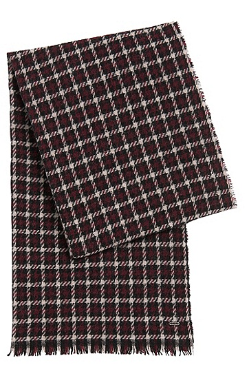 Scarf in wool blend with houndstooth pattern: 'Women-Z 526', Open Purple