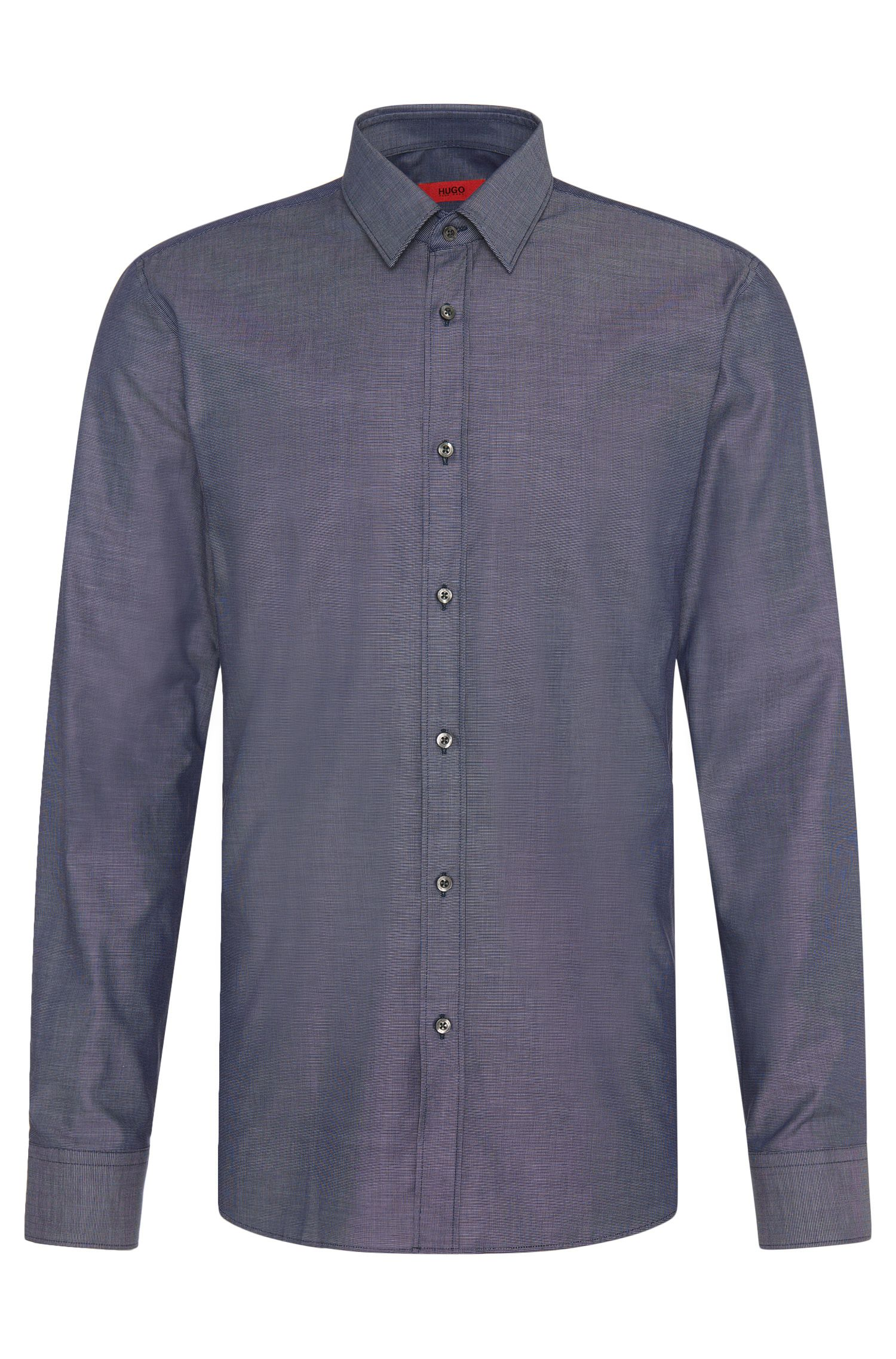 Patterned slim-fit shirt in stretch cotton: 'Elisha'
