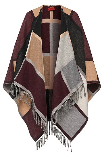 Poncho in a woollen blend in blanket style: 'Women-Z 519', Patterned