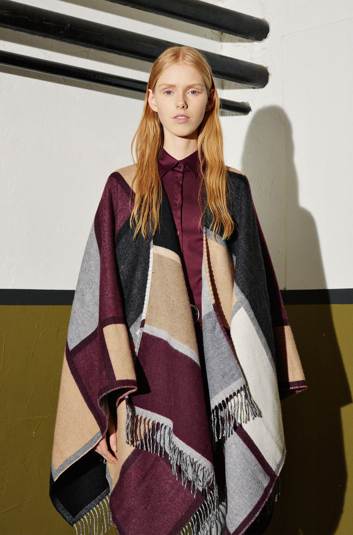 Poncho aus Woll-Mix im Blanket-Stil: 'Women-Z 519'