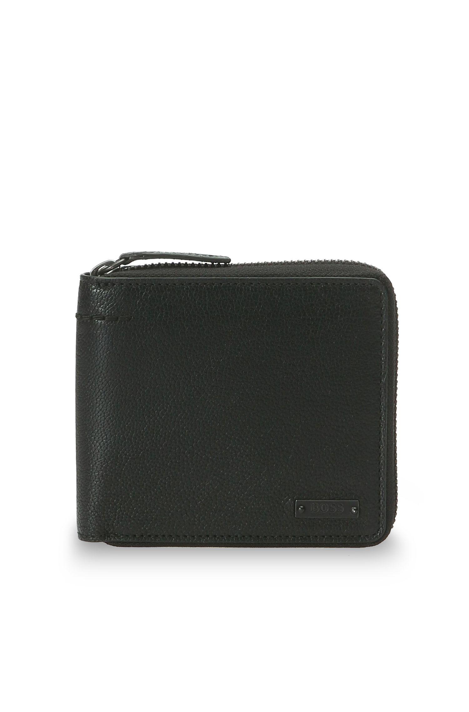 Porte-monnaie en cuir nervuré avec zip: «Journey_Z around»