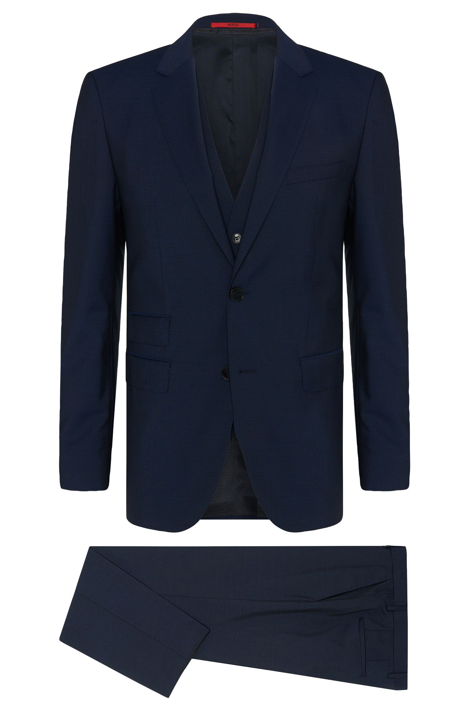 Plain regular-fit 3-piece suit in new wool: 'C-Jim/C-Simmons/C-We'