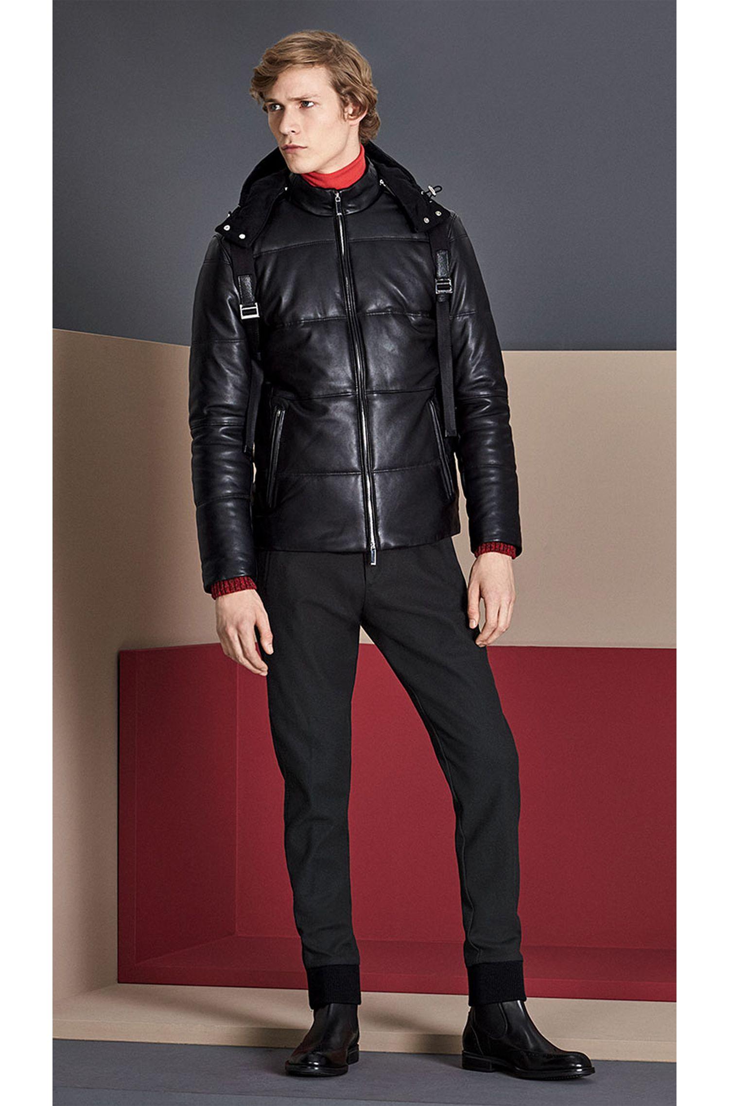 Blouson en cuir Regular Fit à capuche amovible: «Nortik»