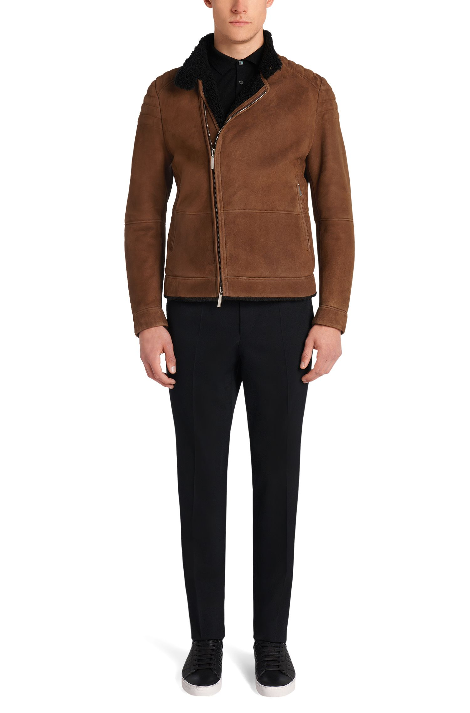 Blouson en cuir Regular Fit Tailored pourvu d'une doublure en laine d'agneau et de zips: «T-Corsino»