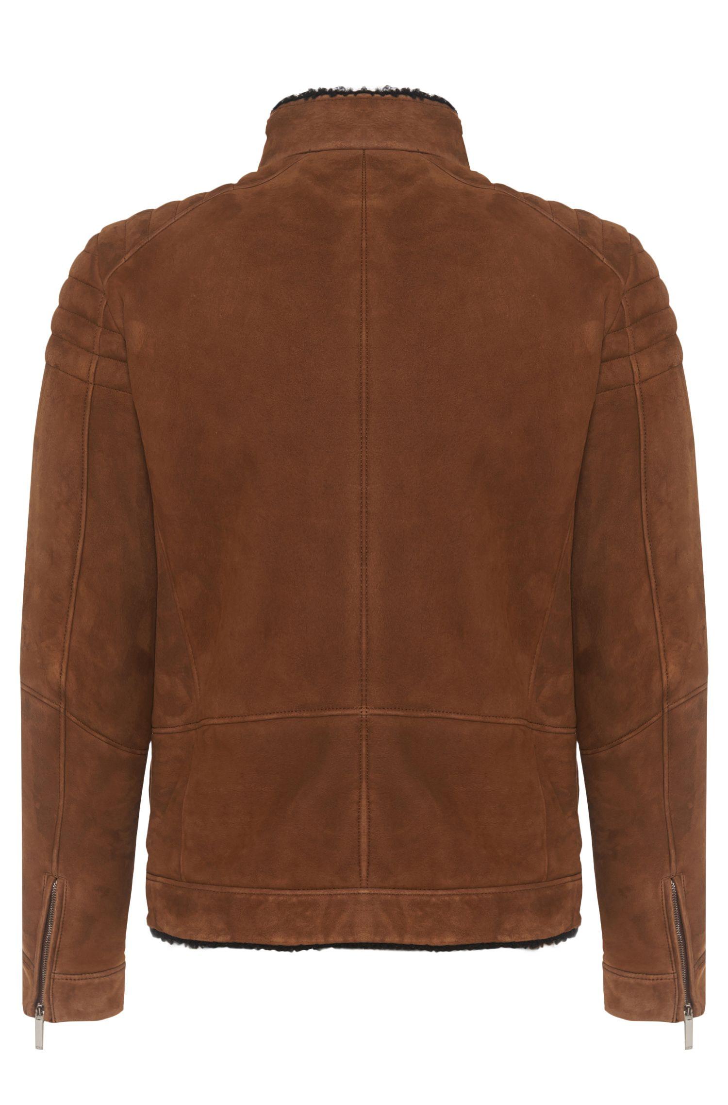Regular-Fit Tailored Lederjacke mit Lammfell-Futter und Zippern: 'T-Corsino'