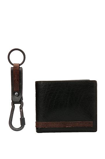 Set mit Geldbörse und Schlüsselanhänger aus Leder: ´GbO16FW_4cc coin key`, Schwarz