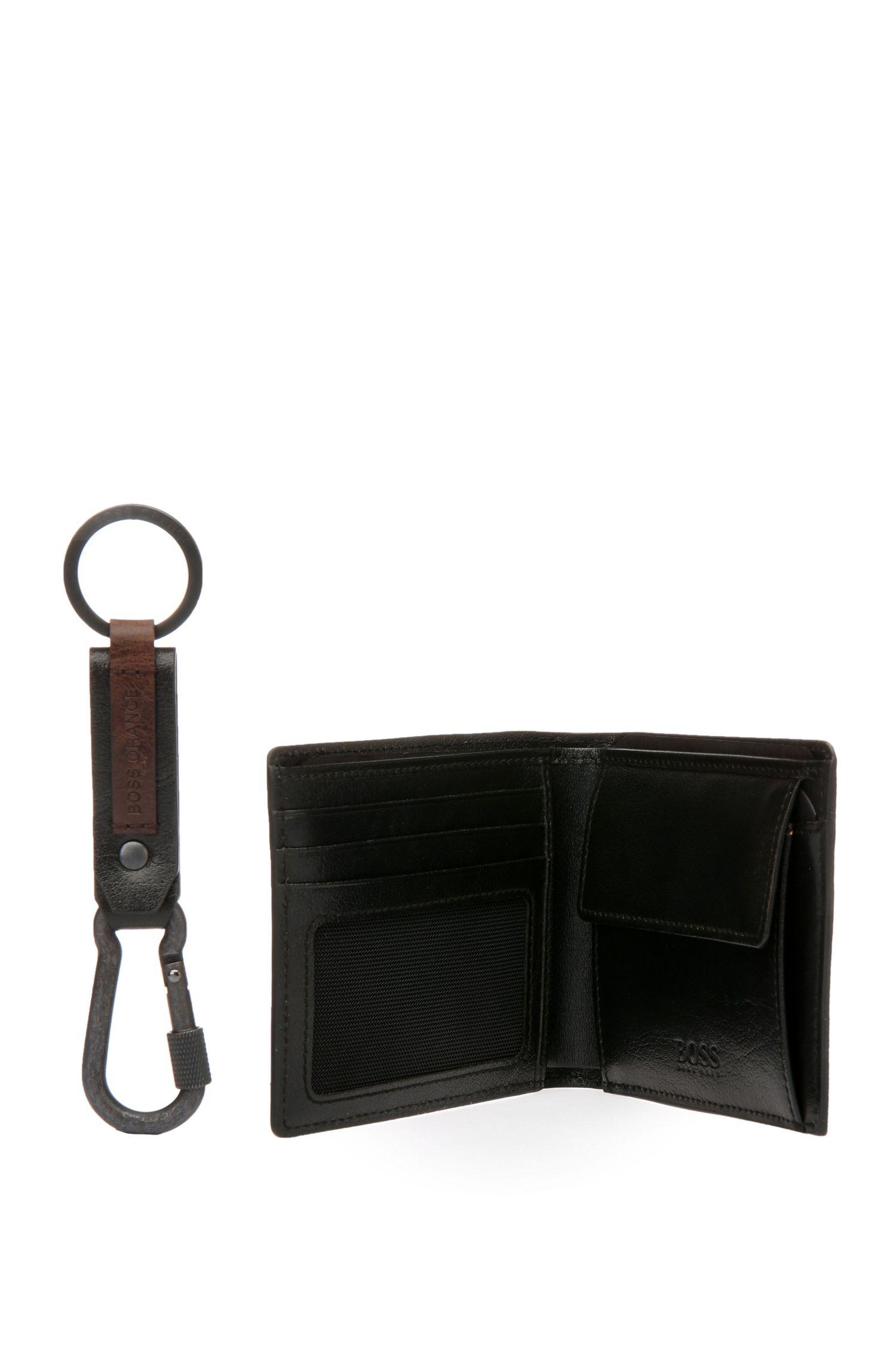 Set mit Geldbörse und Schlüsselanhänger aus Leder: ´GbO16FW_4cc coin key`