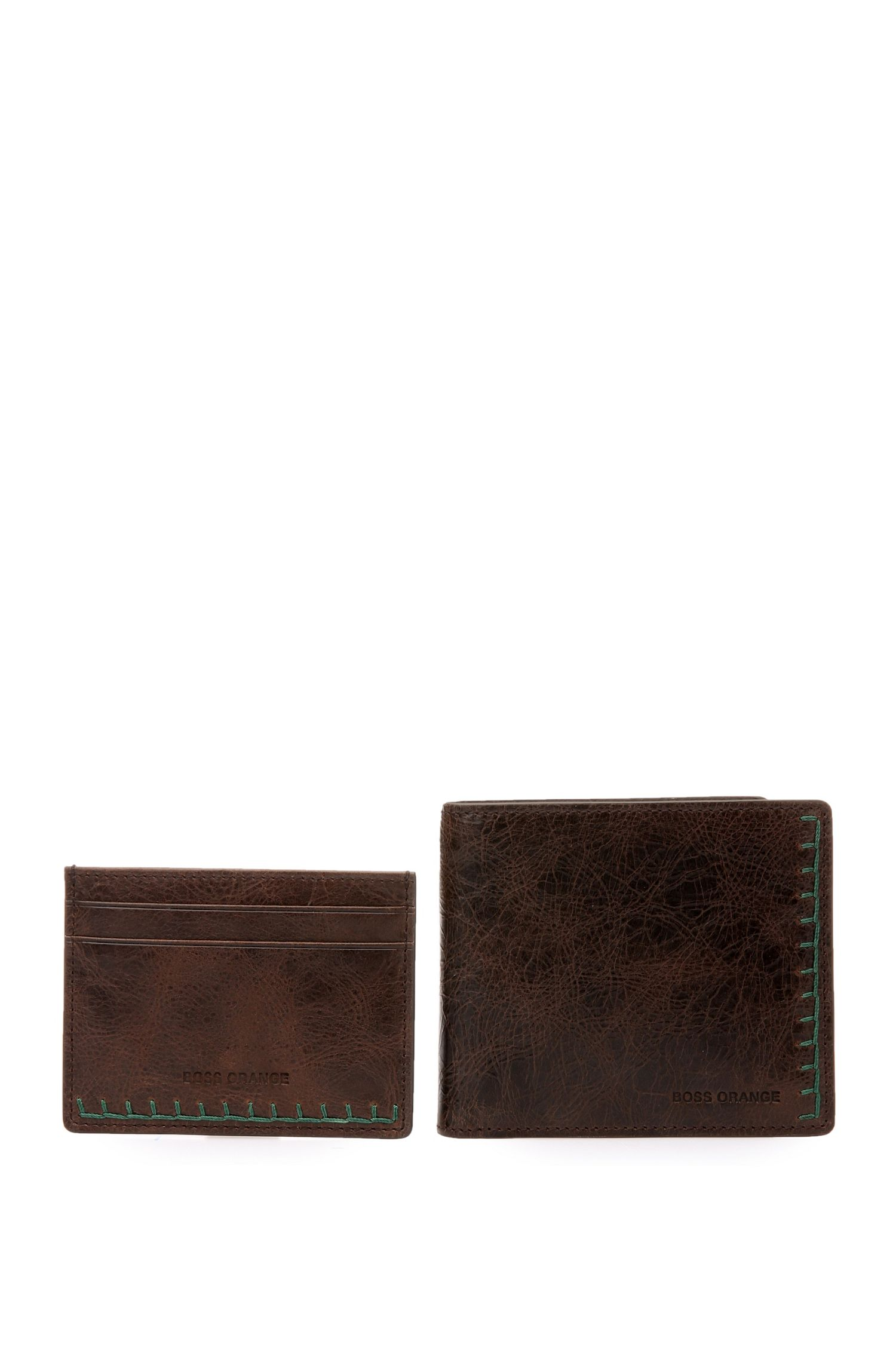 Card case and wallet set in grained leather: 'GbO16FW_8 cc S card'