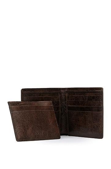 Set mit Kartenetui und Geldbörse aus genarbtem Leder: ´GbO16FW_8 cc S card`, Dunkelbraun